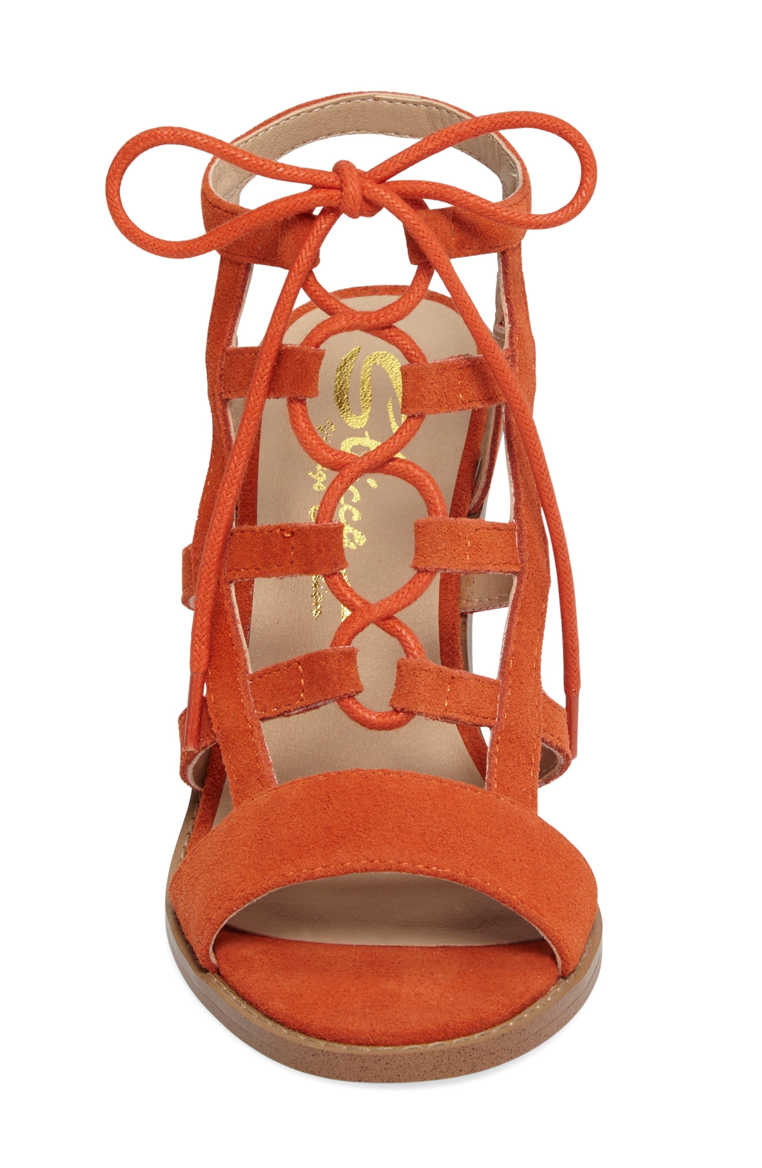 Sanni Cage Sandal,                             Alternate thumbnail 4, color,                             Orange Leather