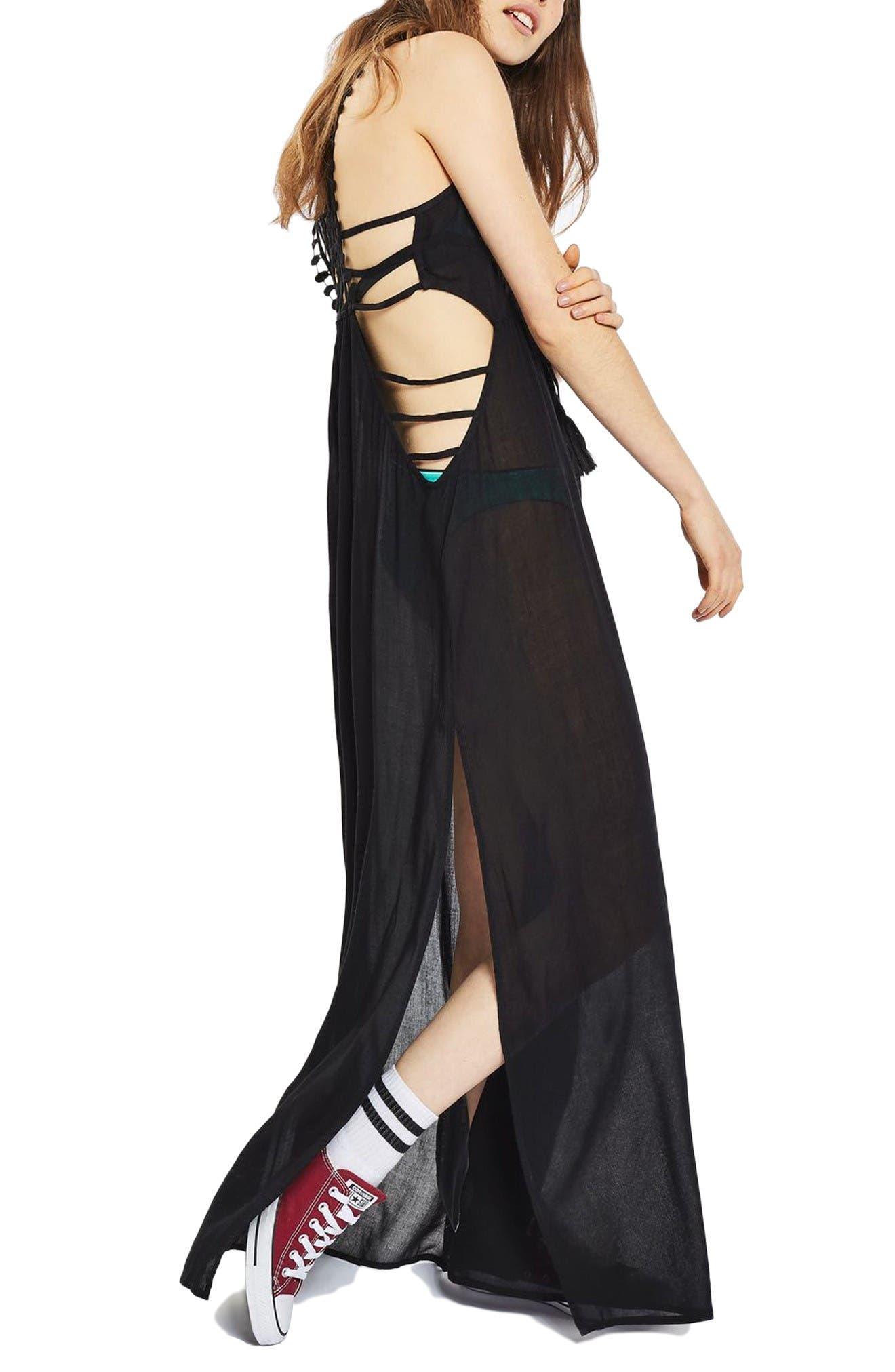 Crochet Back Cover-Up Maxi Dress,                             Alternate thumbnail 5, color,                             Black