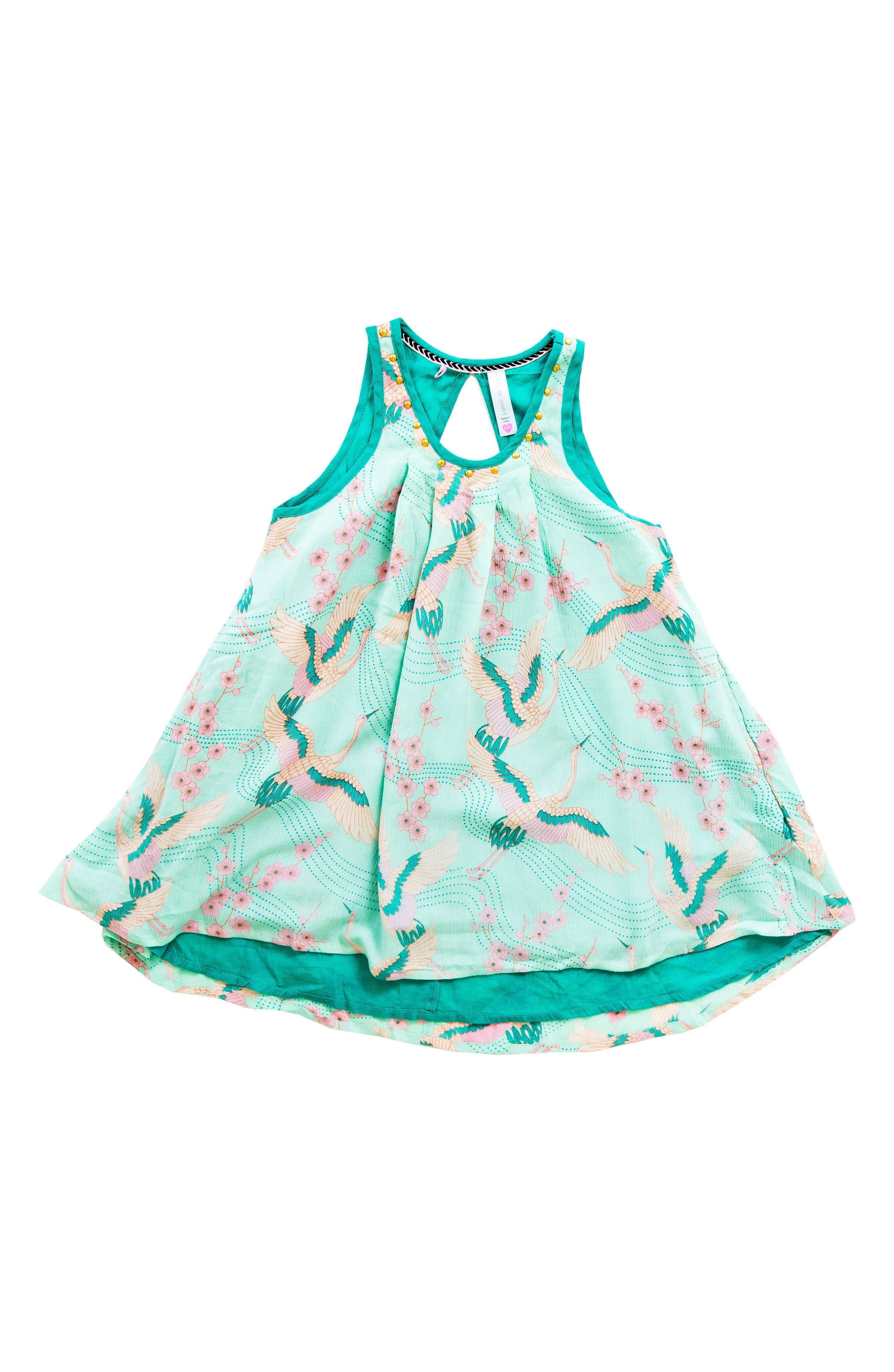 Main Image - BOWIE X JAMES Print Trapeze Dress (Toddler Girls, Little Girls & Big Girls)