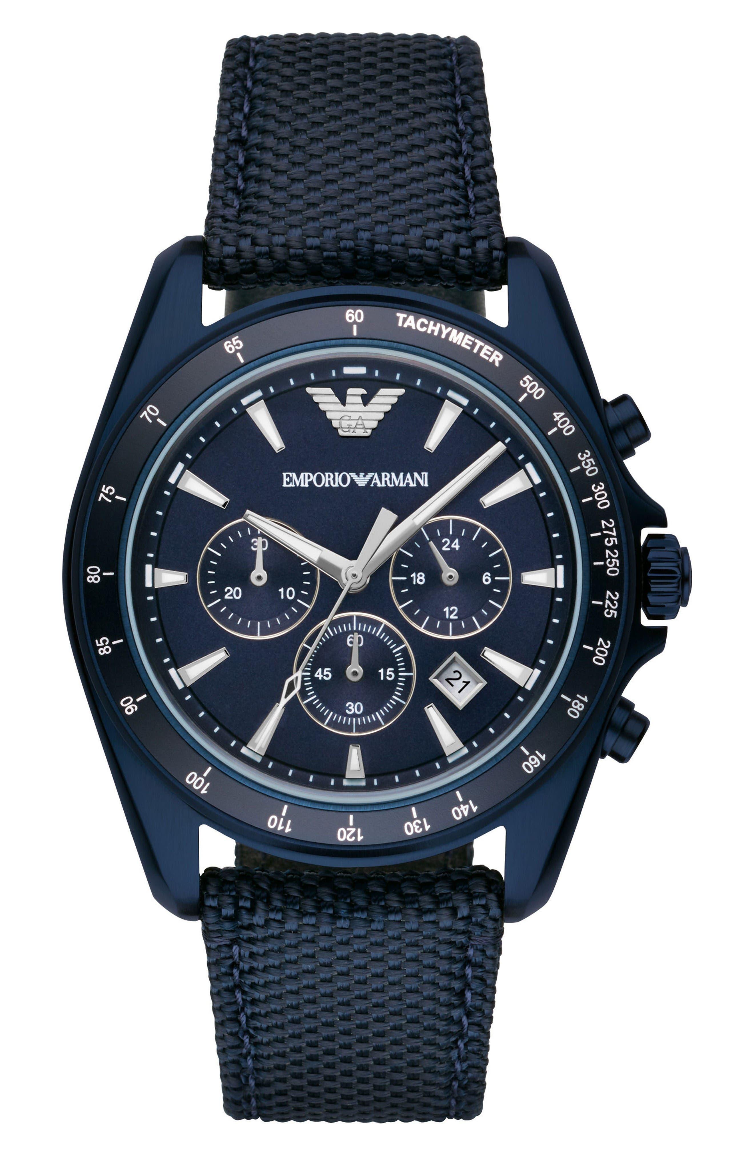 Emporio Armani Chronograph Nylon Strap Watch, 44mm
