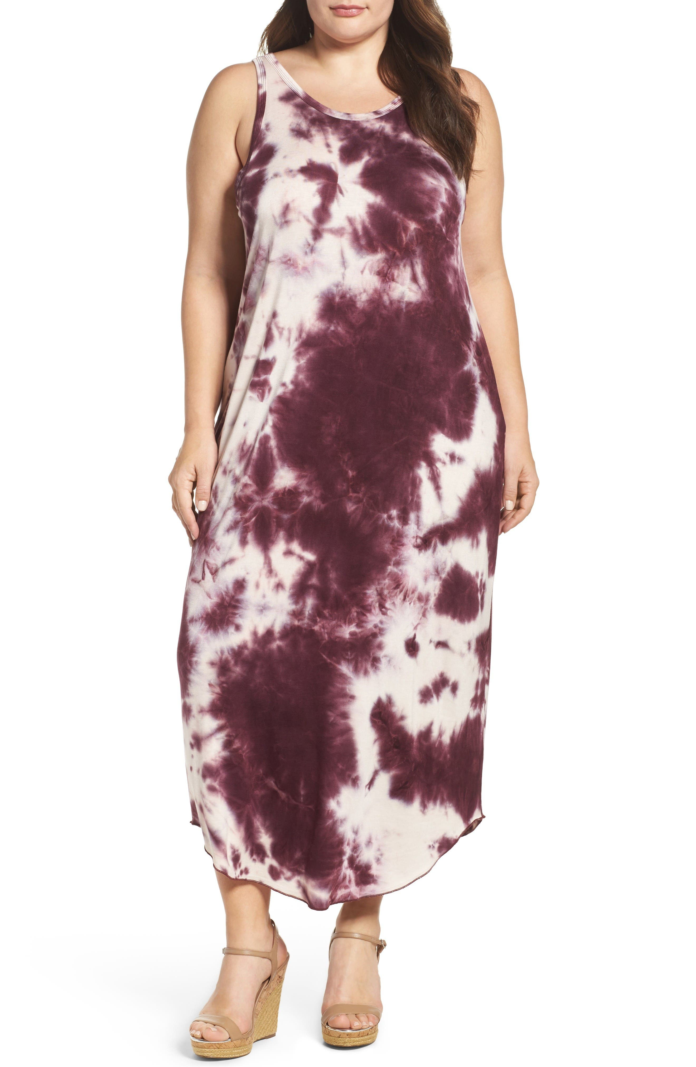 Sejour Tie Dye Maxi Tank Dress (Plus Size)