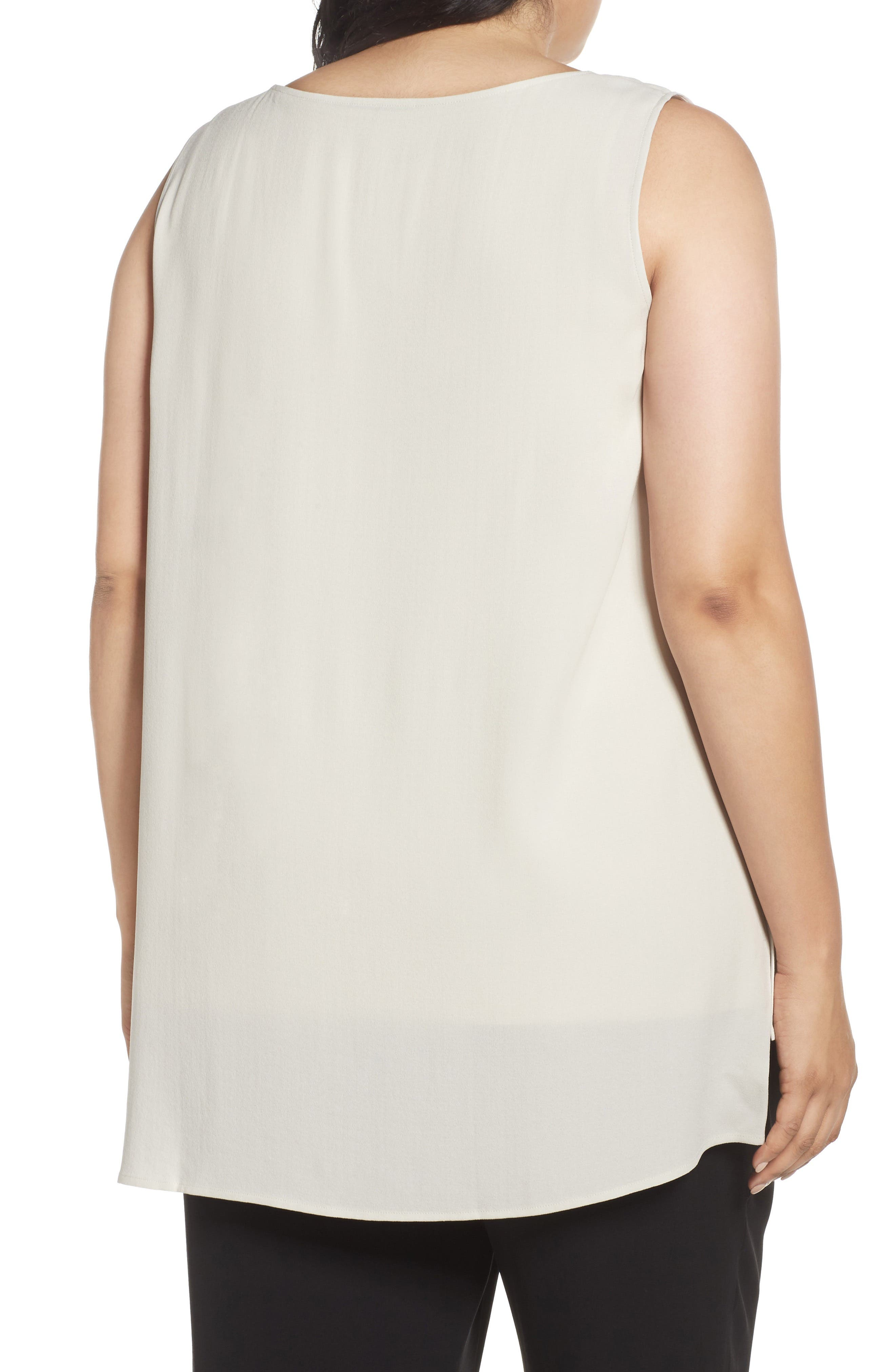 Alternate Image 2  - Eileen Fisher Silk Georgette Crepe Top (Plus Size)