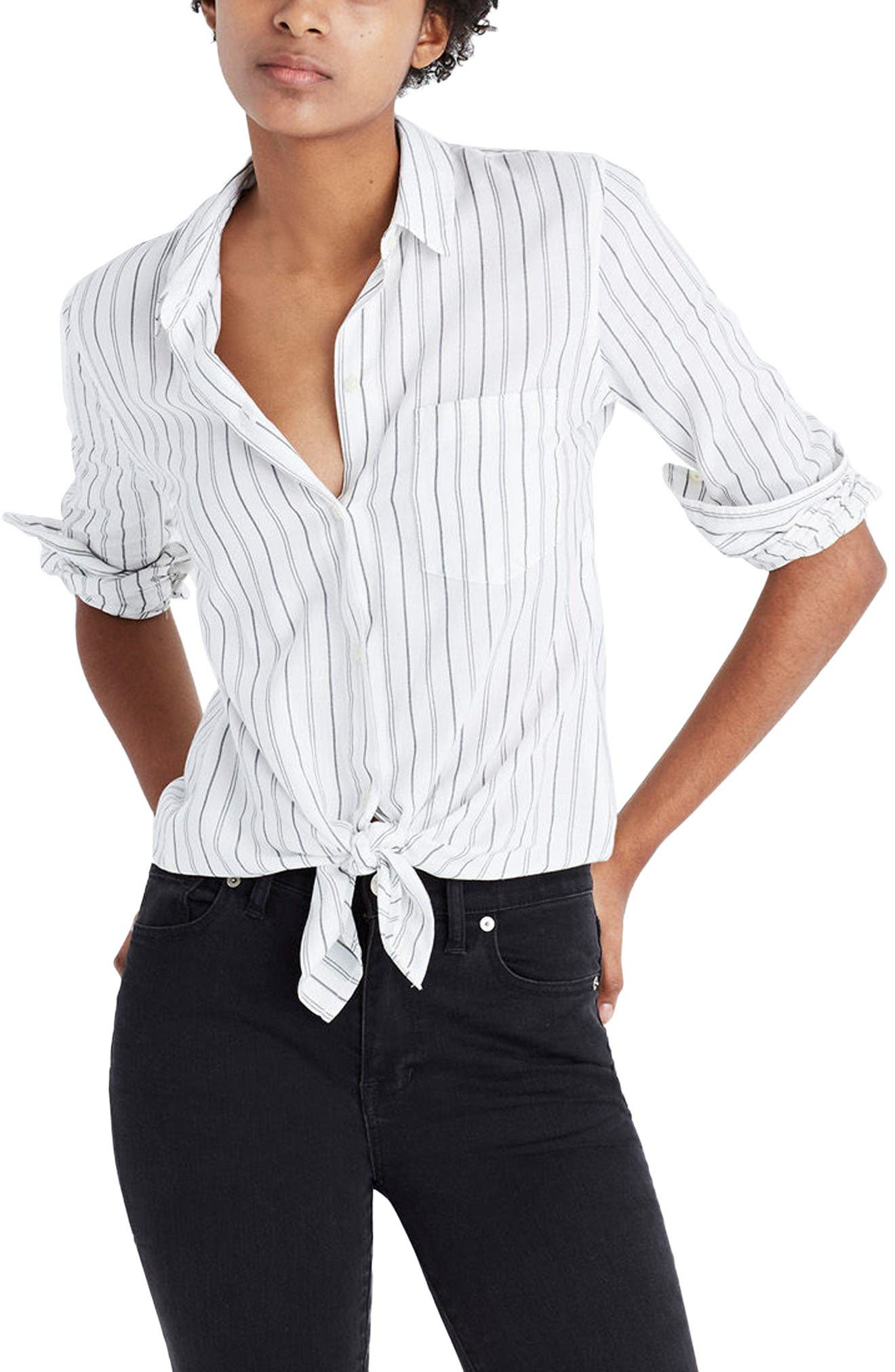 MADEWELL Stripe Tie Front Cotton Shirt