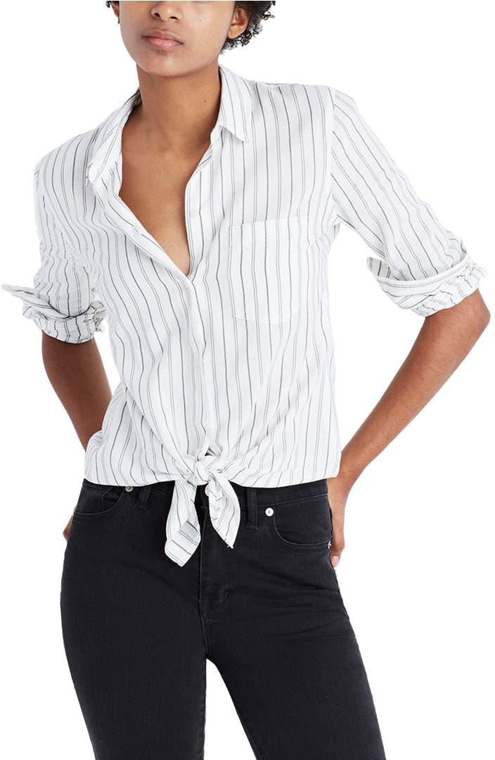 Madewell stripe tie front cotton shirt nordstrom for Striped shirt with tie