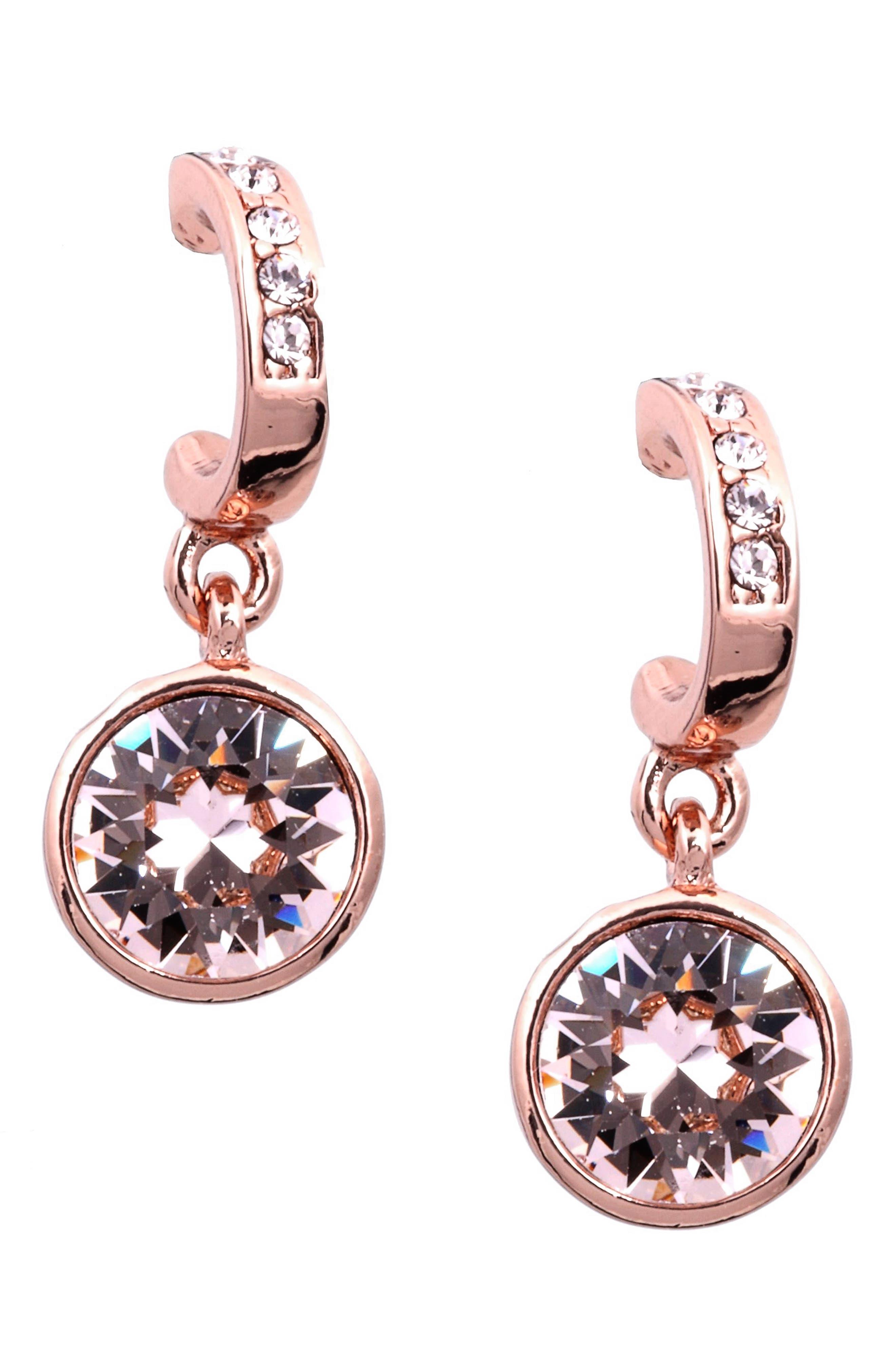 Crystal Hoop Drop Earrings,                         Main,                         color, Rose Gold / Silk