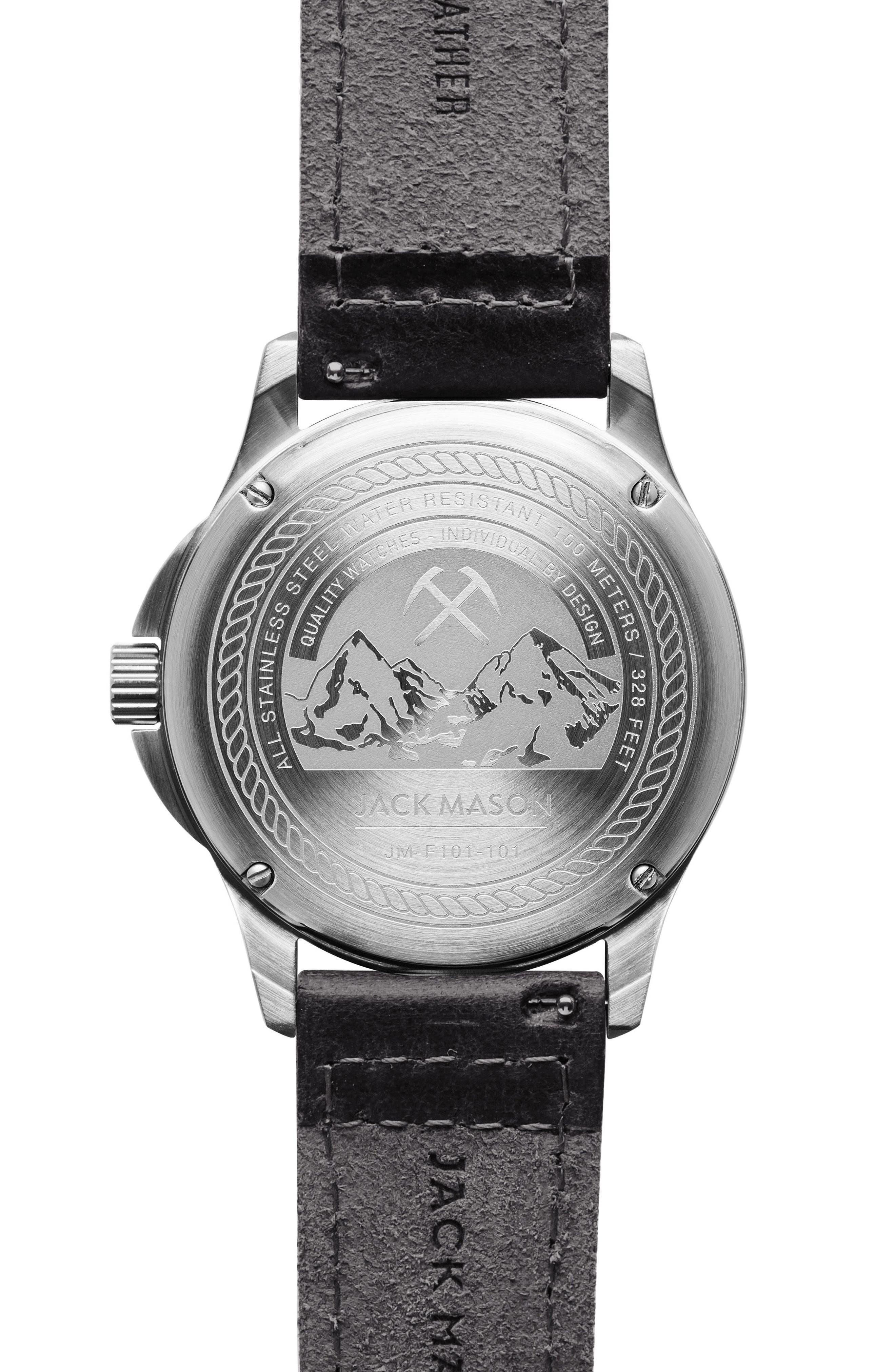 Alternate Image 2  - Jack Mason Field Leather Strap Watch, 46mm