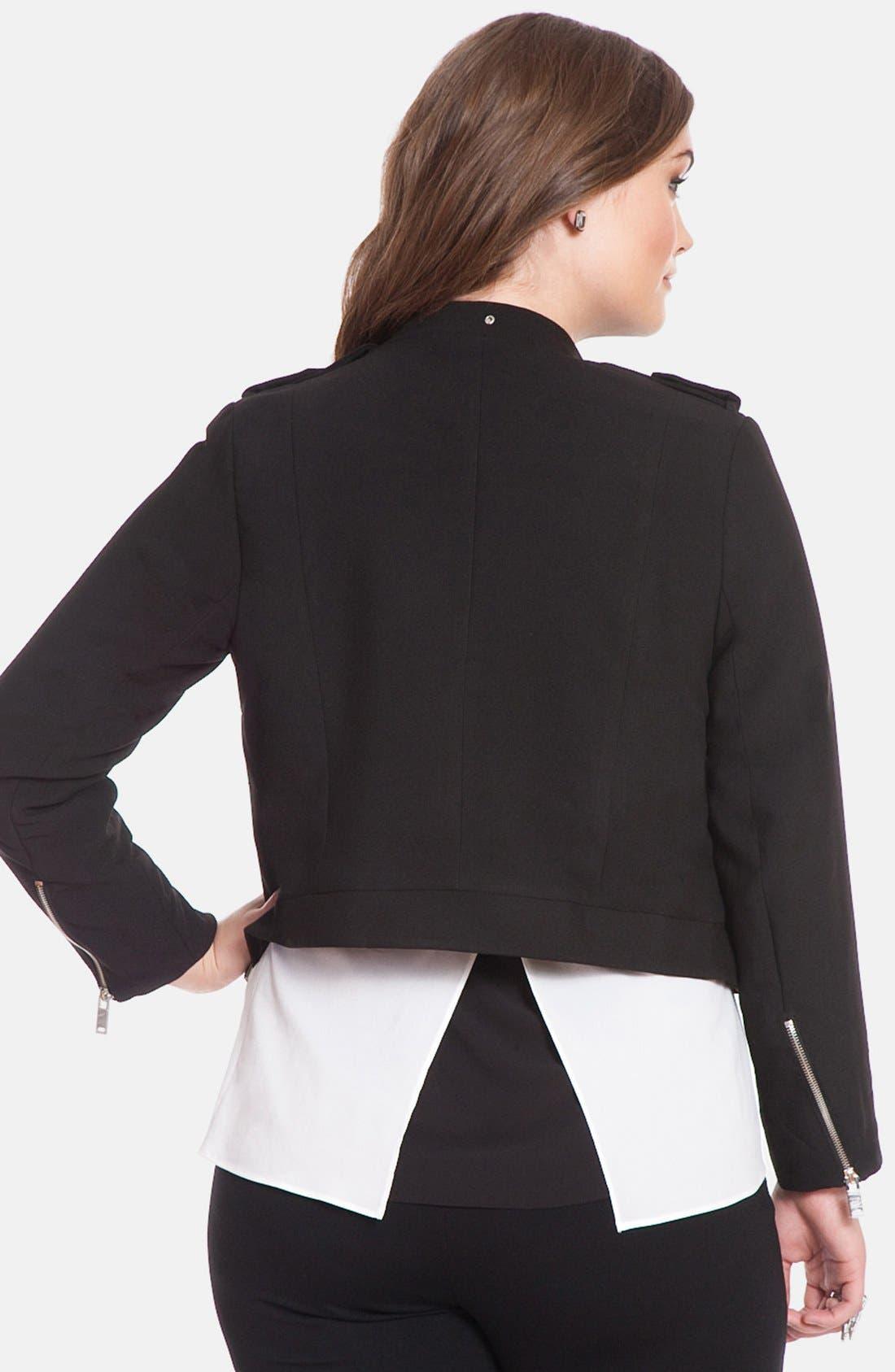 Alternate Image 2  - ELOQUII Double Zip Drape Crop Jacket (Plus Size)