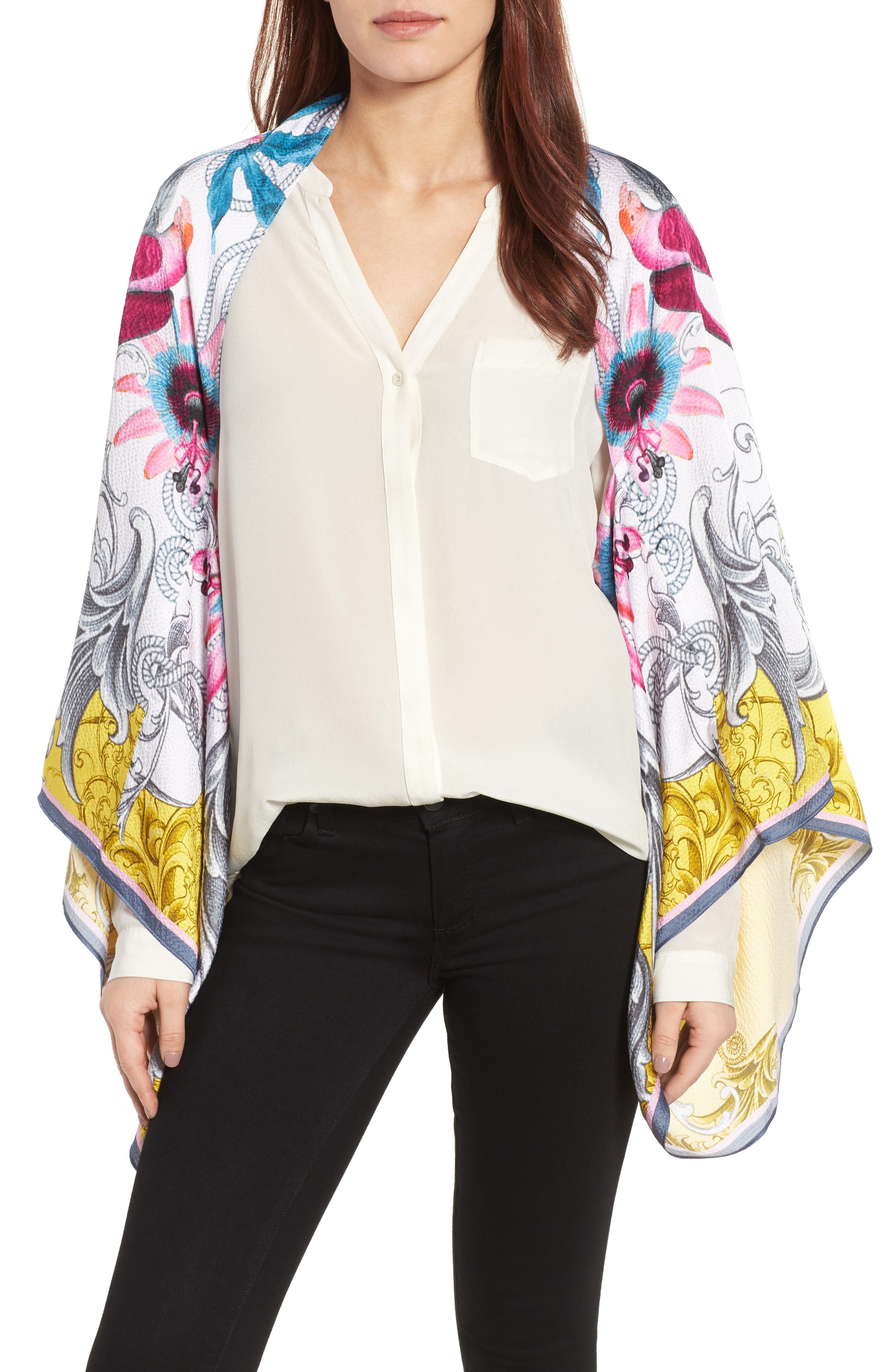 Ted Baker London Passion Flower Silk Cape