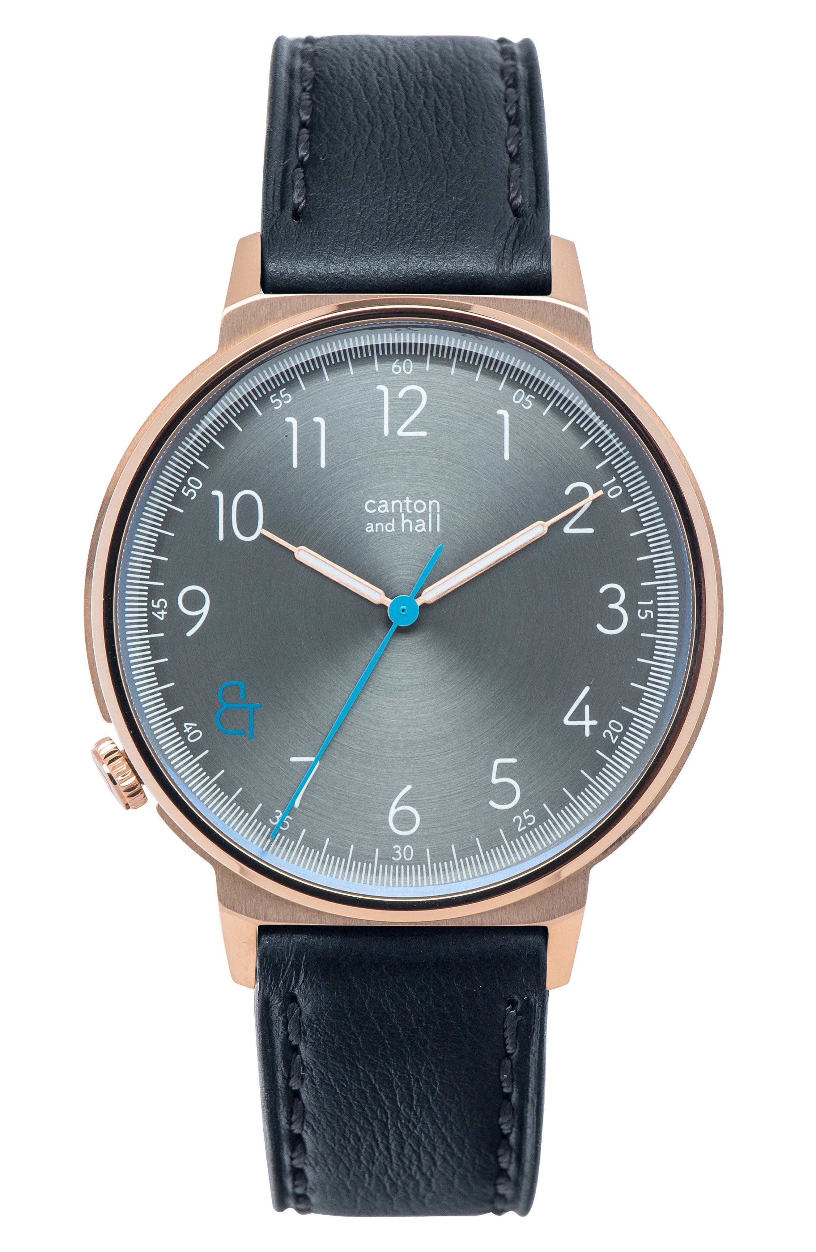 CANTON AND HALL Leather Strap Watch, 44mm