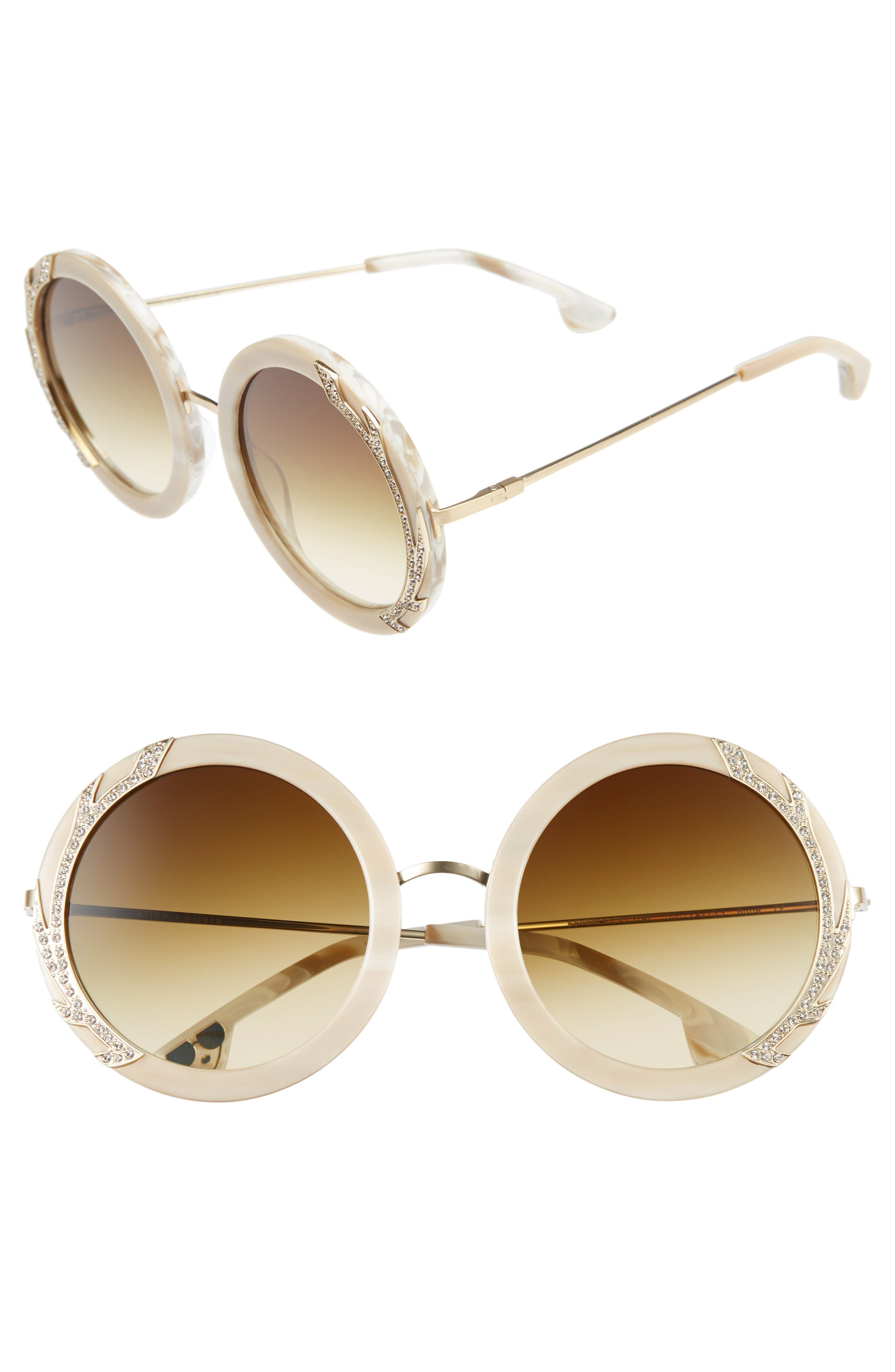 Alice + Olivia Beverly Crystal 53mm Special Fit Round Sunglasses