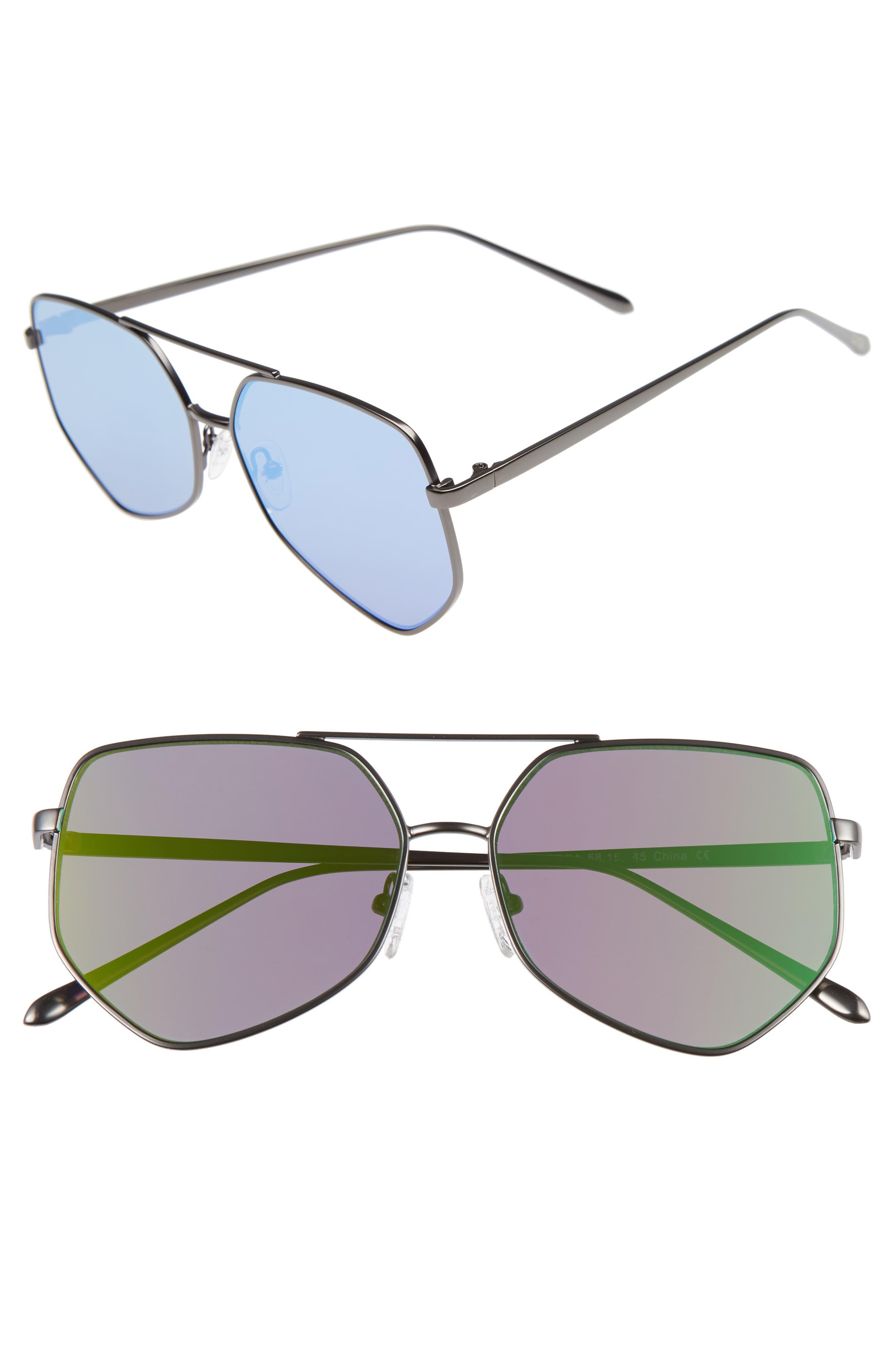 Figueroa 58mm Sunglasses,                         Main,                         color, Money Green