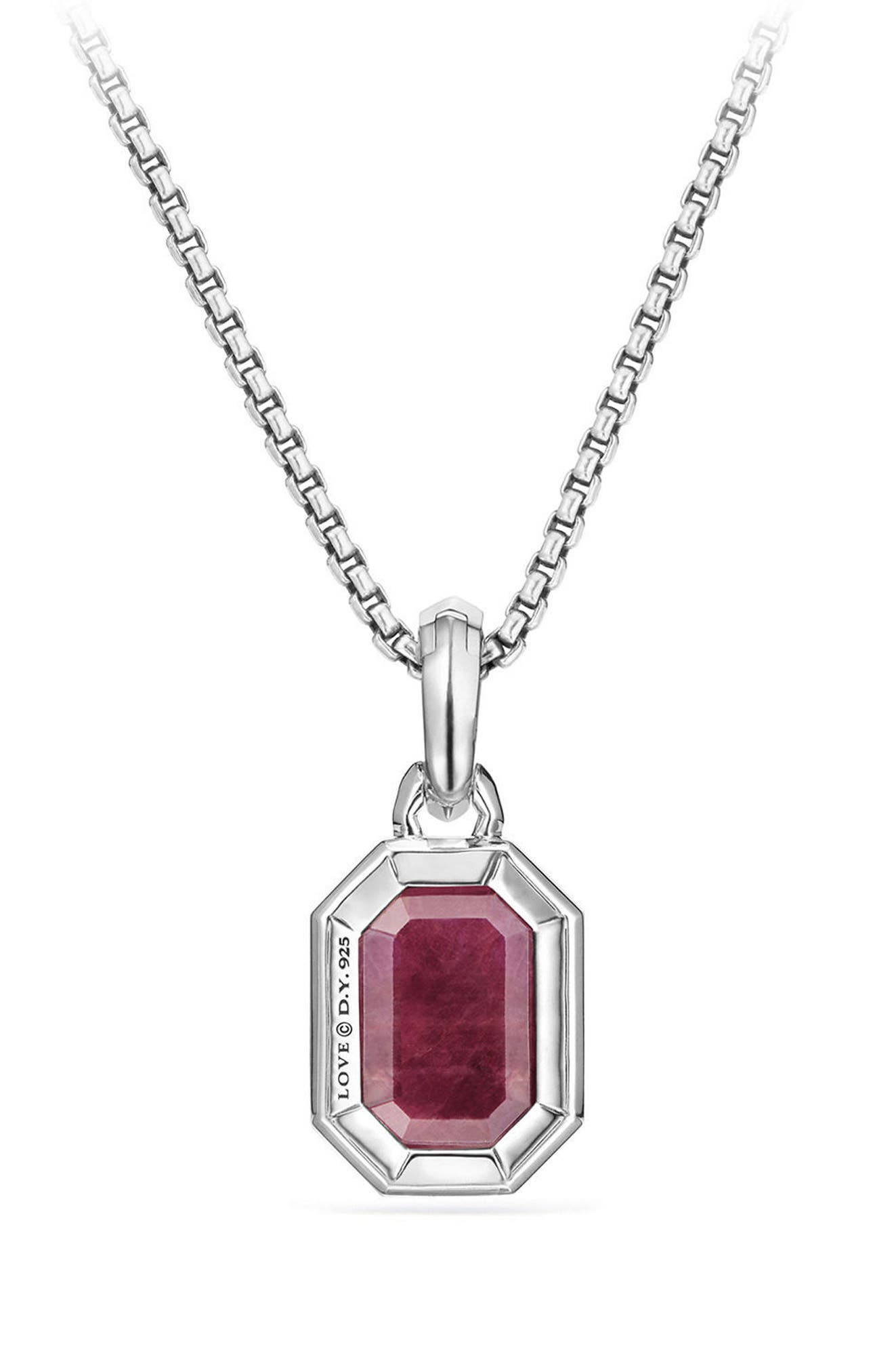 Cable Collectibles Emerald Cut Precious Stone Amulet,                             Alternate thumbnail 2, color,                             Indian Ruby