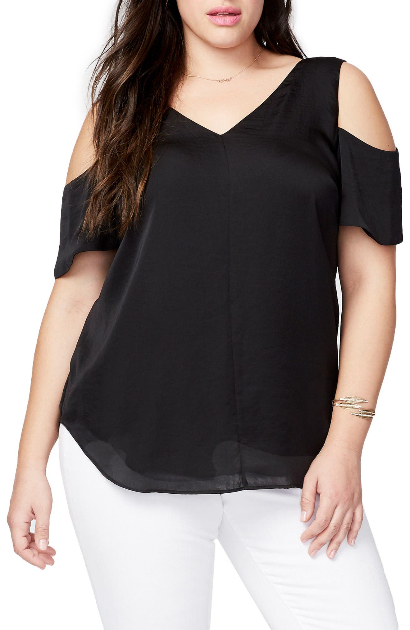 RACHEL RACHEL ROY Washed Satin Cold Shoulder Blouse