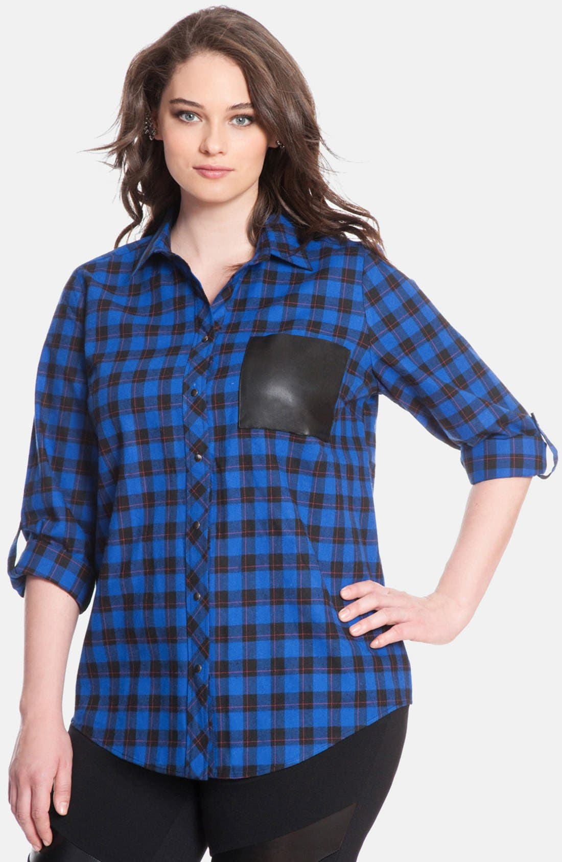 Main Image - ELOQUII Plaid Cotton Flannel Shirt (Plus Size)