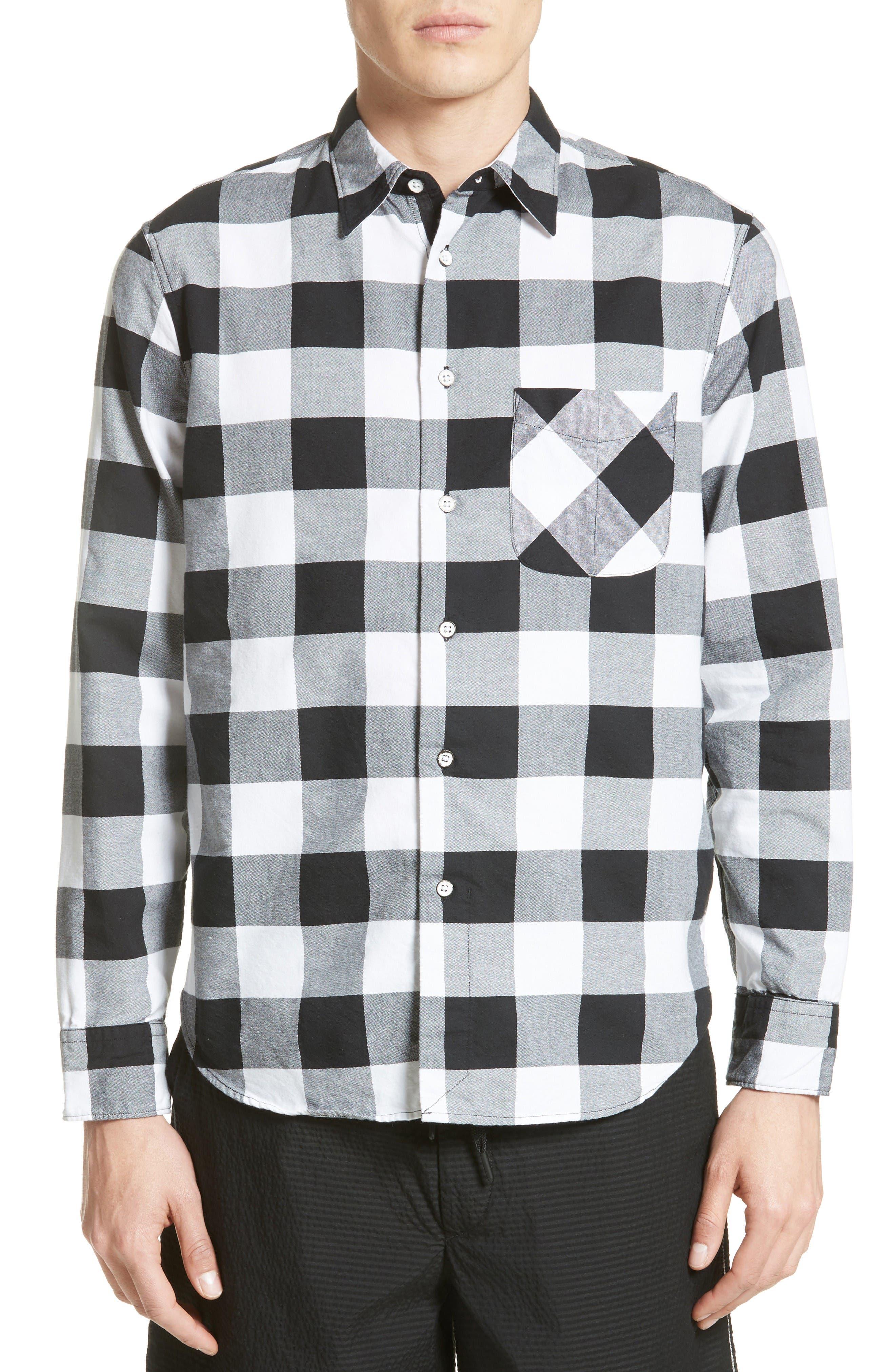 Beach Trim Fit Large Check Sport Shirt,                         Main,                         color, Black/ White