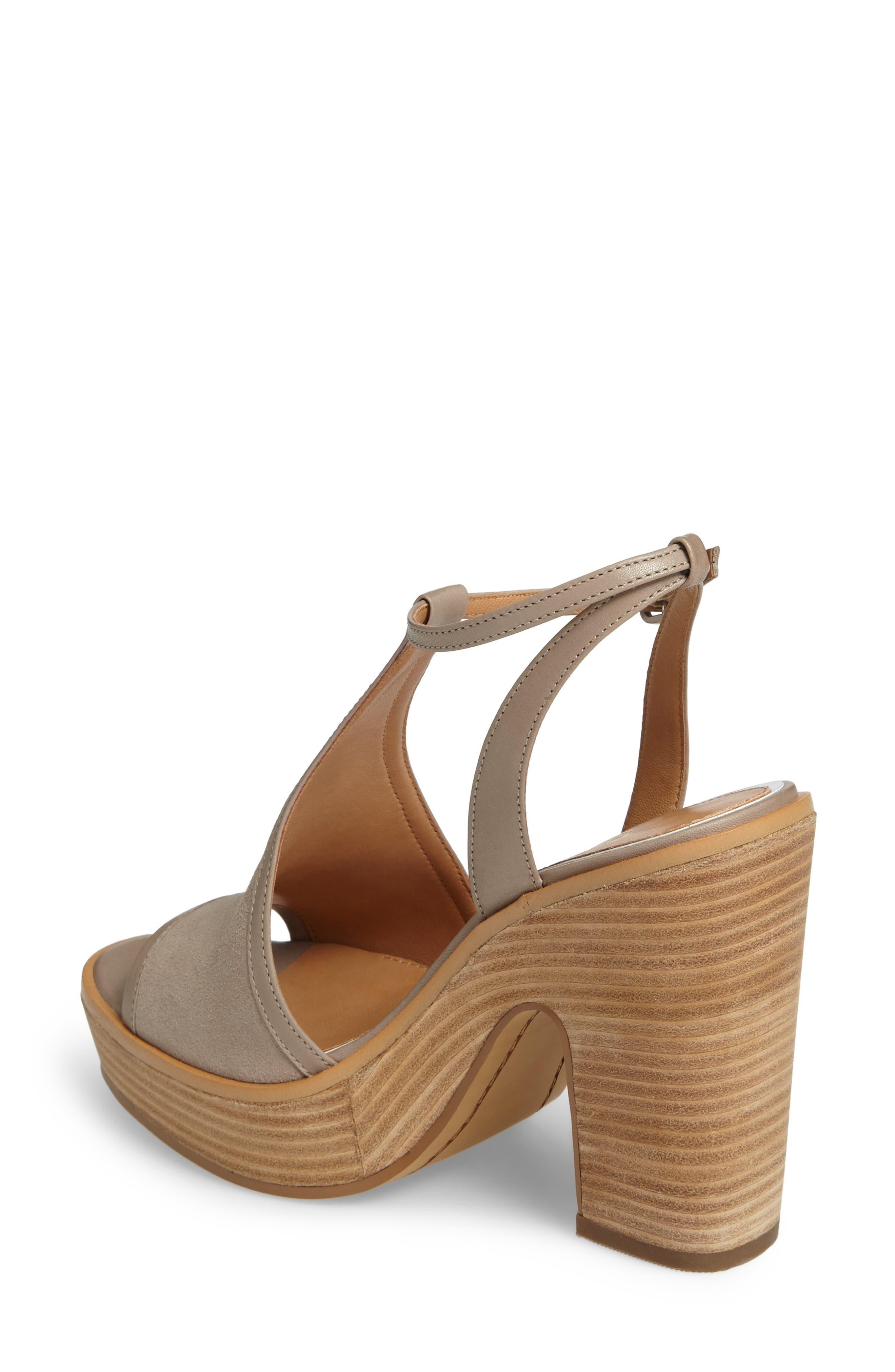 India T-Strap Platform Sandal,                             Alternate thumbnail 2, color,                             Rock Suede