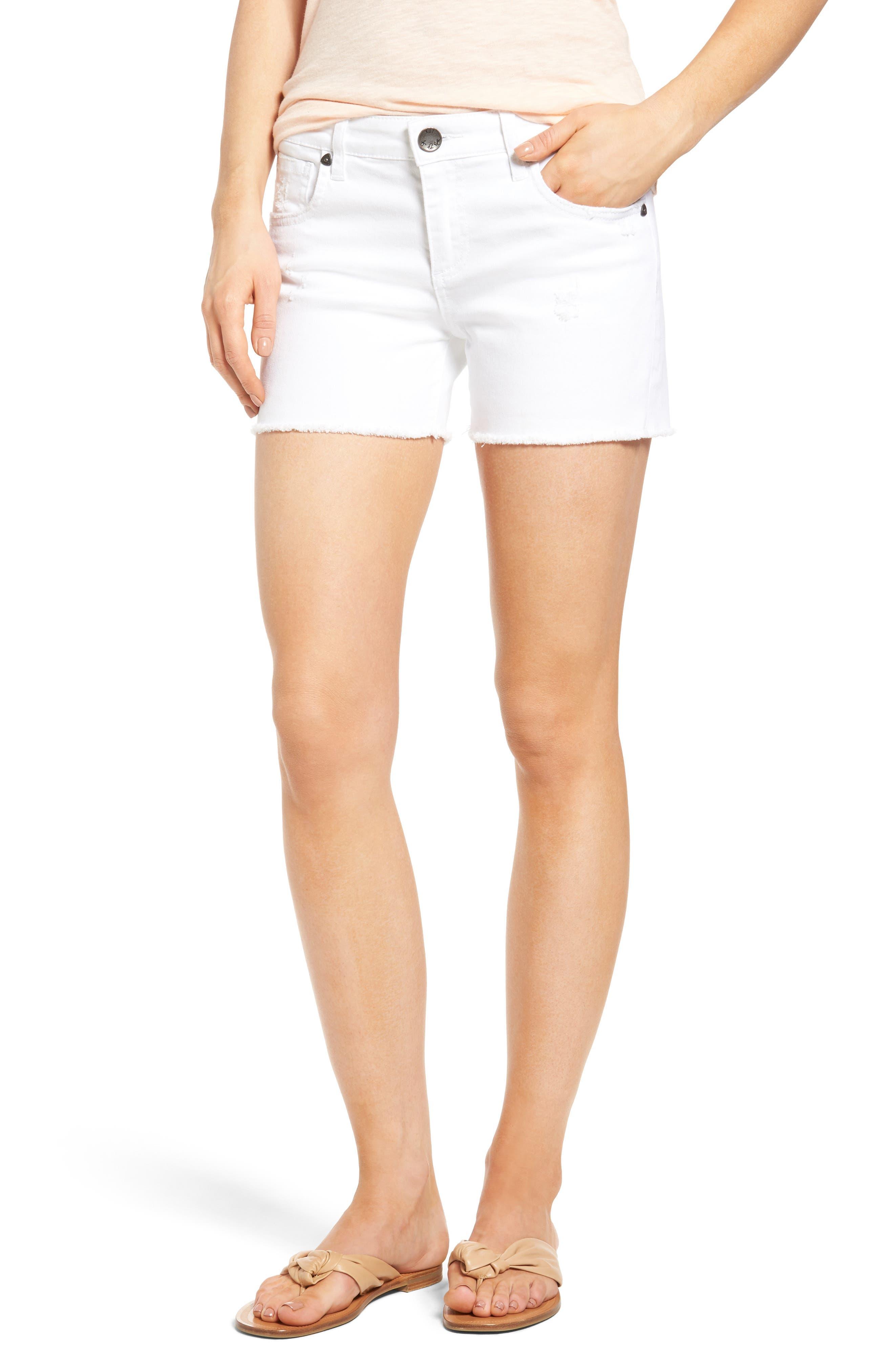 Main Image - KUT from the Kloth Gidget Denim Shorts (Optic White)