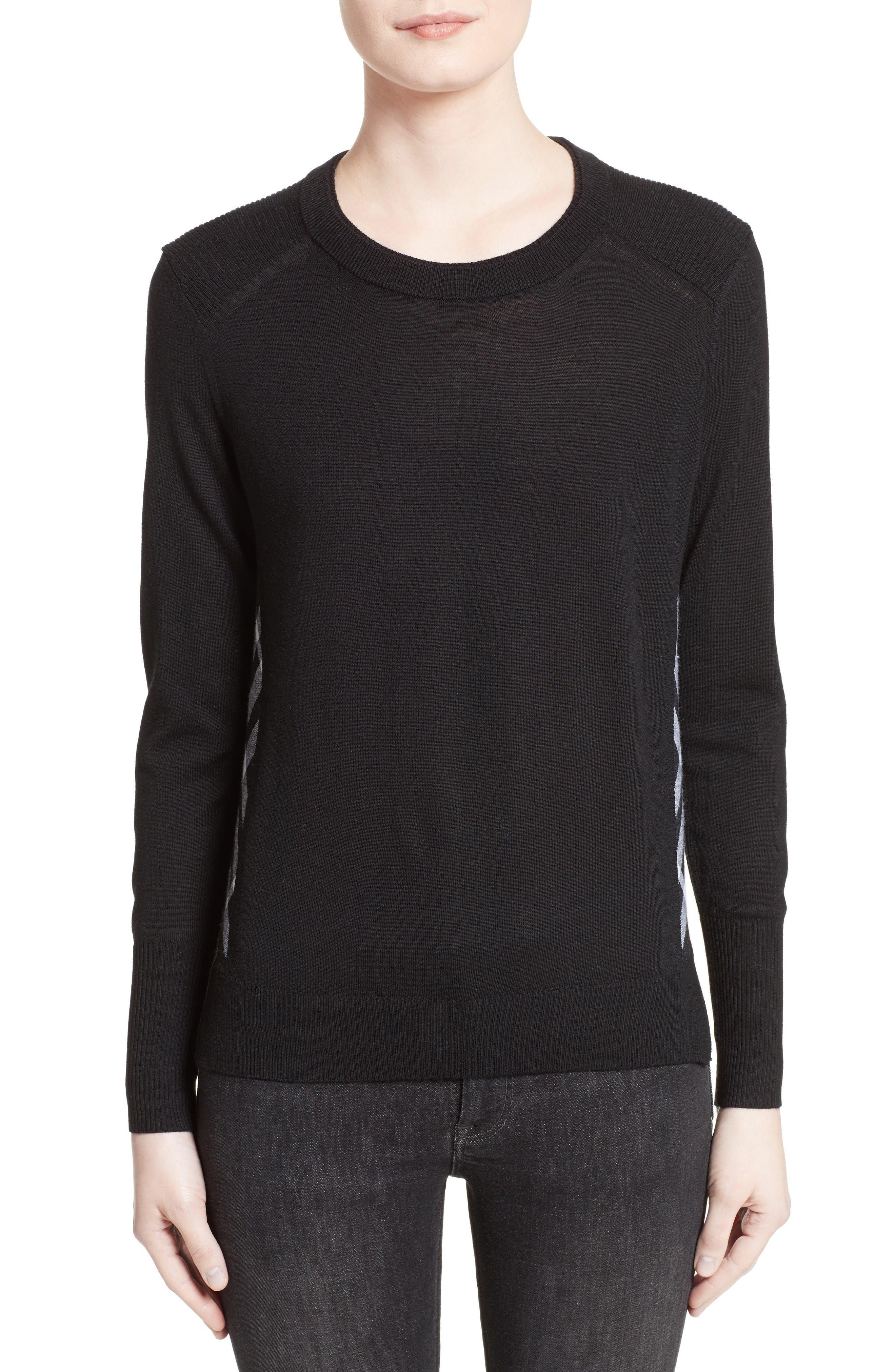 Meigan Merino Wool Sweater,                         Main,                         color, Black