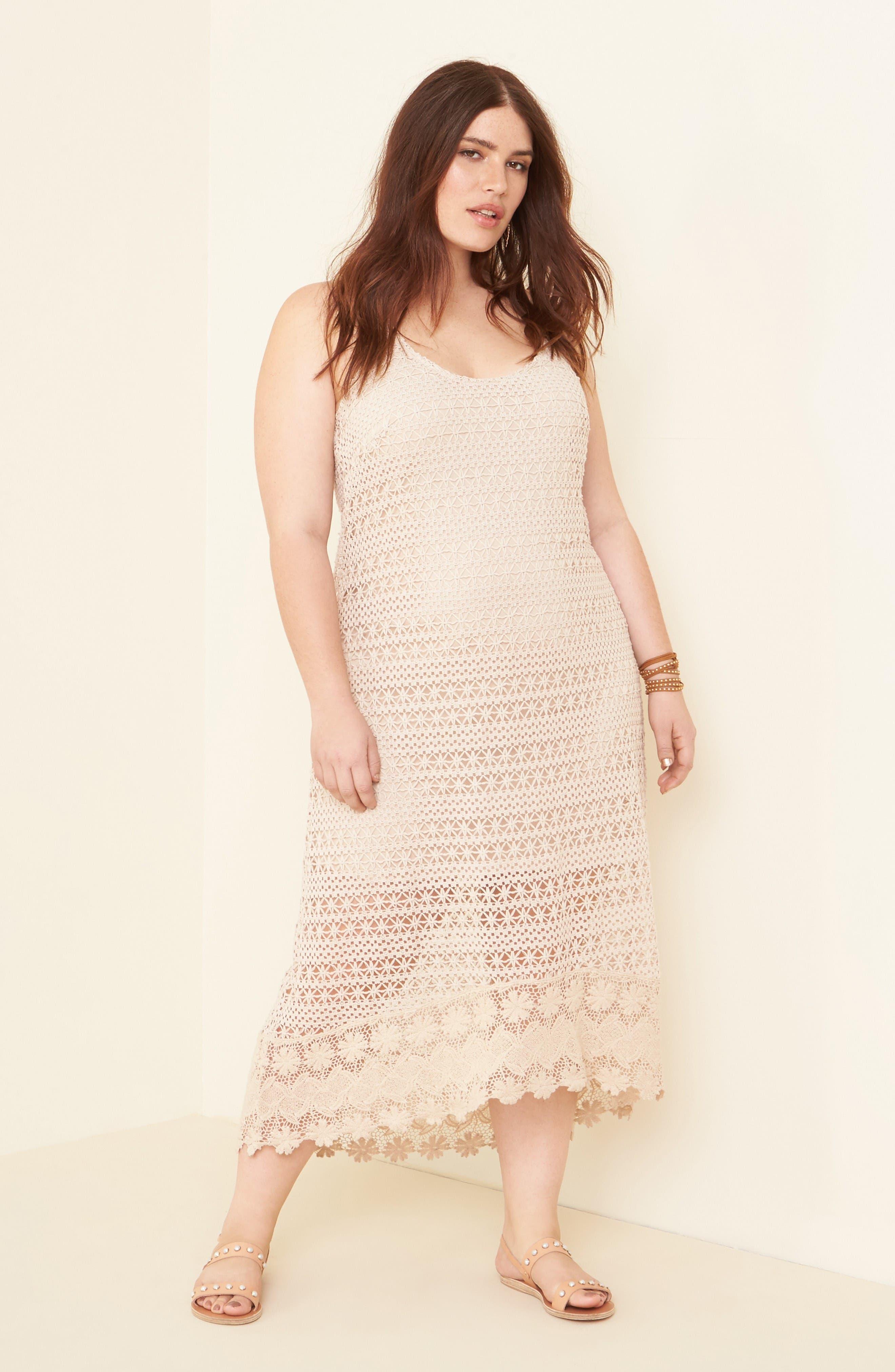 Crochet Maxi Dress,                             Alternate thumbnail 6, color,                             Ecru