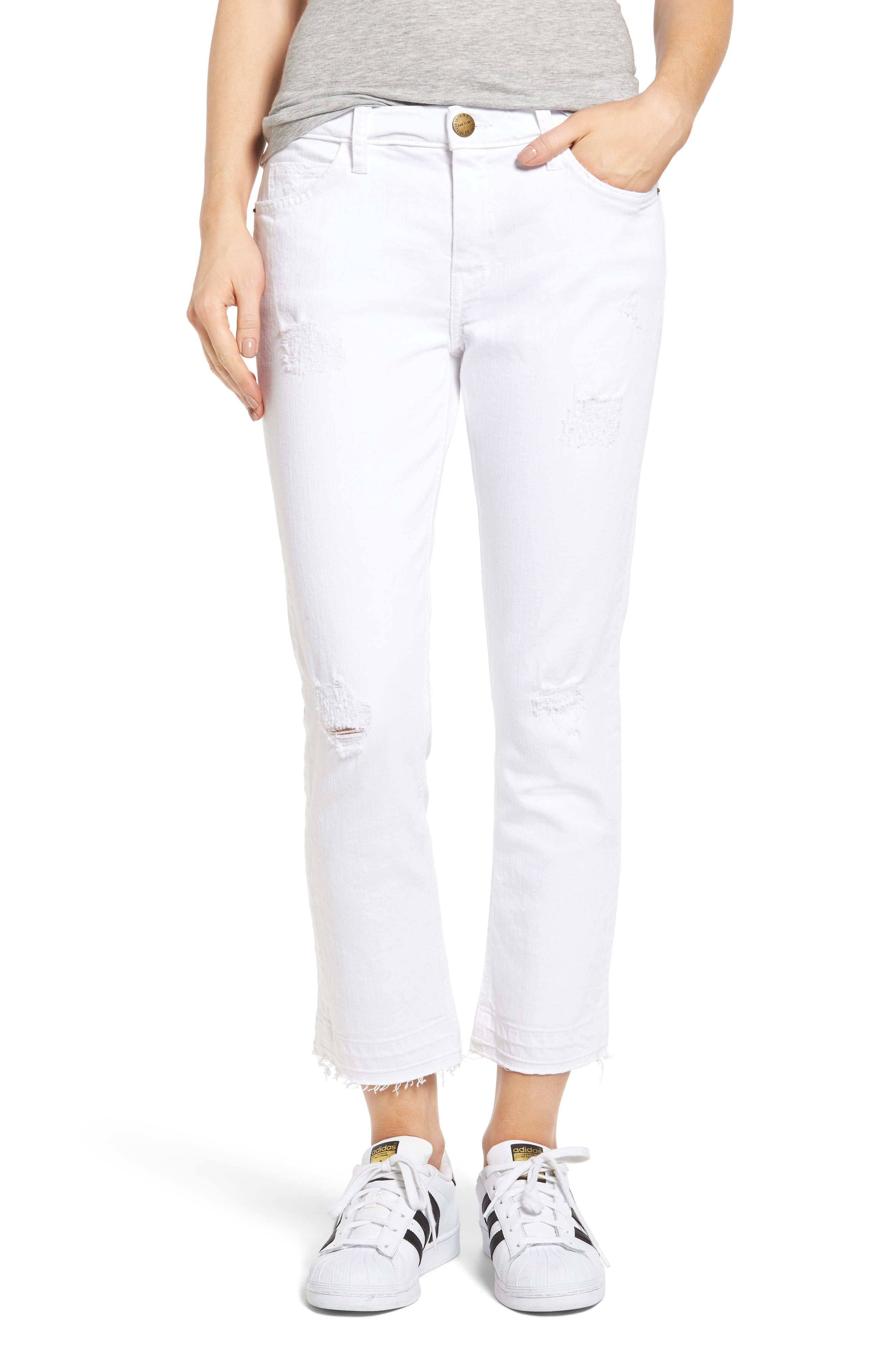 Current/Elliott 'The Cropped Straight' Straight Leg Crop Jeans (Sugar Destroy)