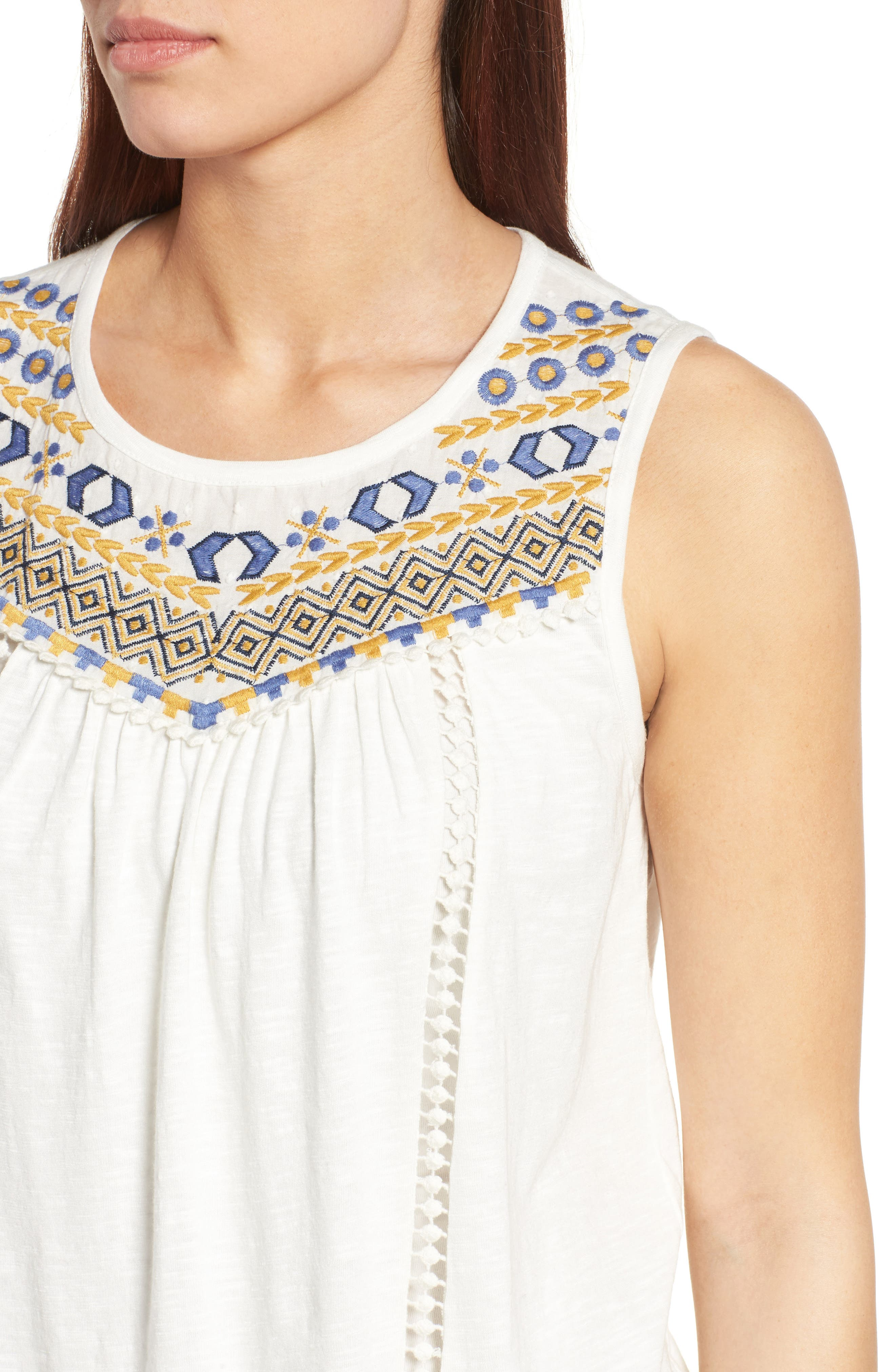 Embroidered Yoke Tank,                             Alternate thumbnail 4, color,                             Ivory- Yellow Embroidery