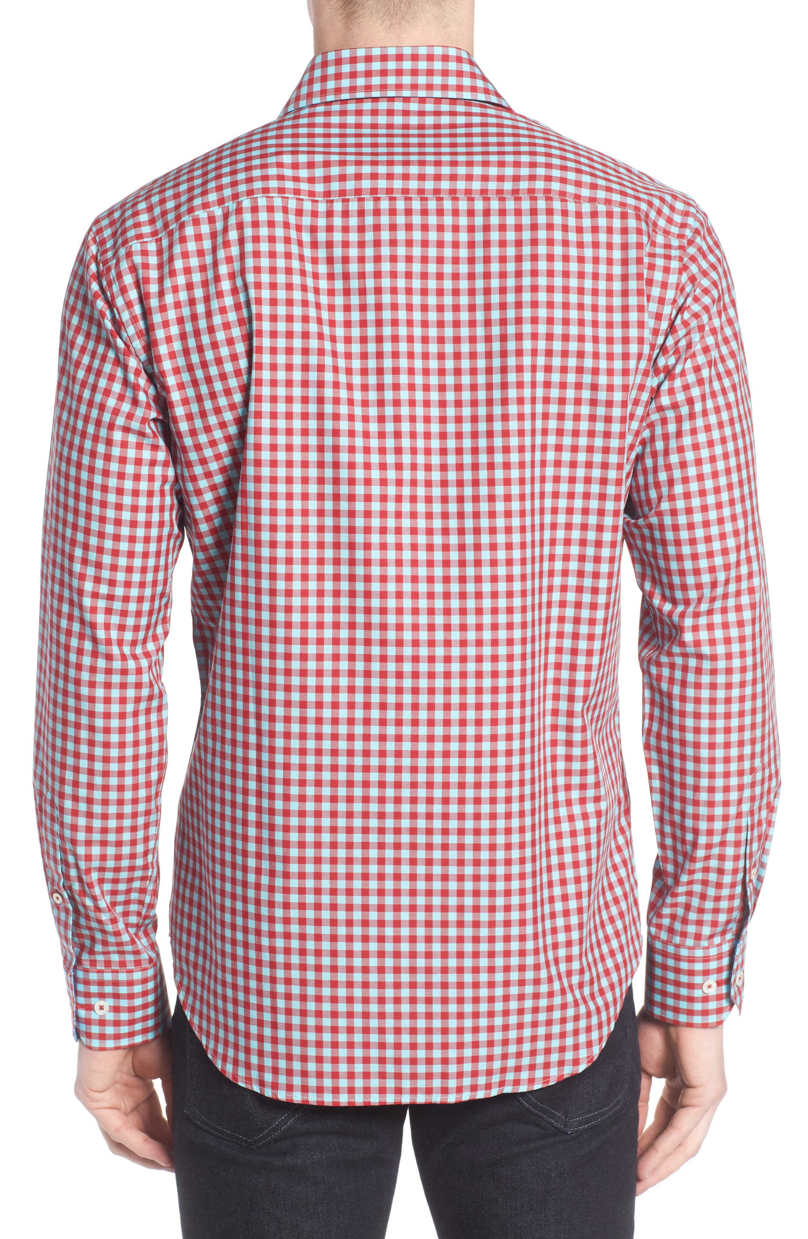 Shaped Fit Gingham Sport Shirt,                             Alternate thumbnail 2, color,                             Ruby