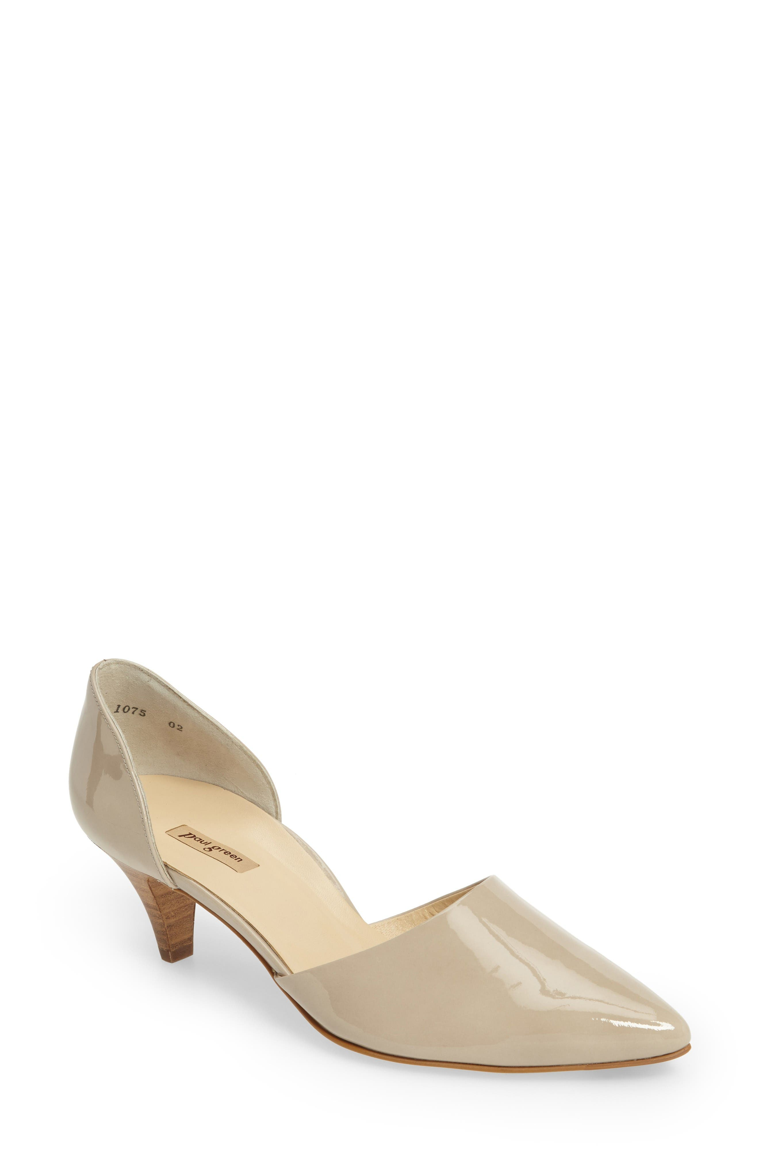'Julia' d'Orsay Pump,                         Main,                         color, Taupe Patent