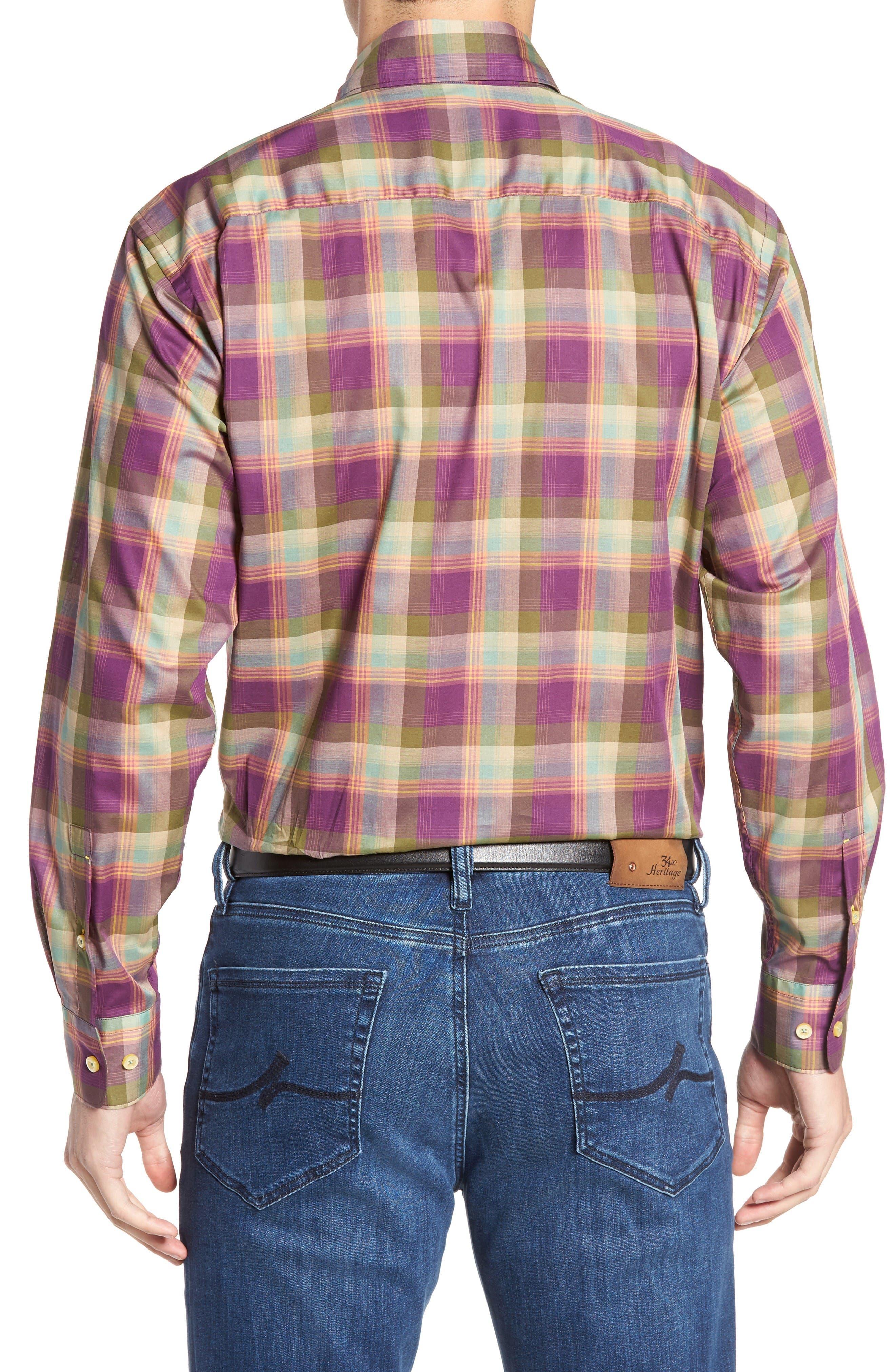 Anderson Classic Fit Plaid Sport Shirt,                             Alternate thumbnail 2, color,                             Port