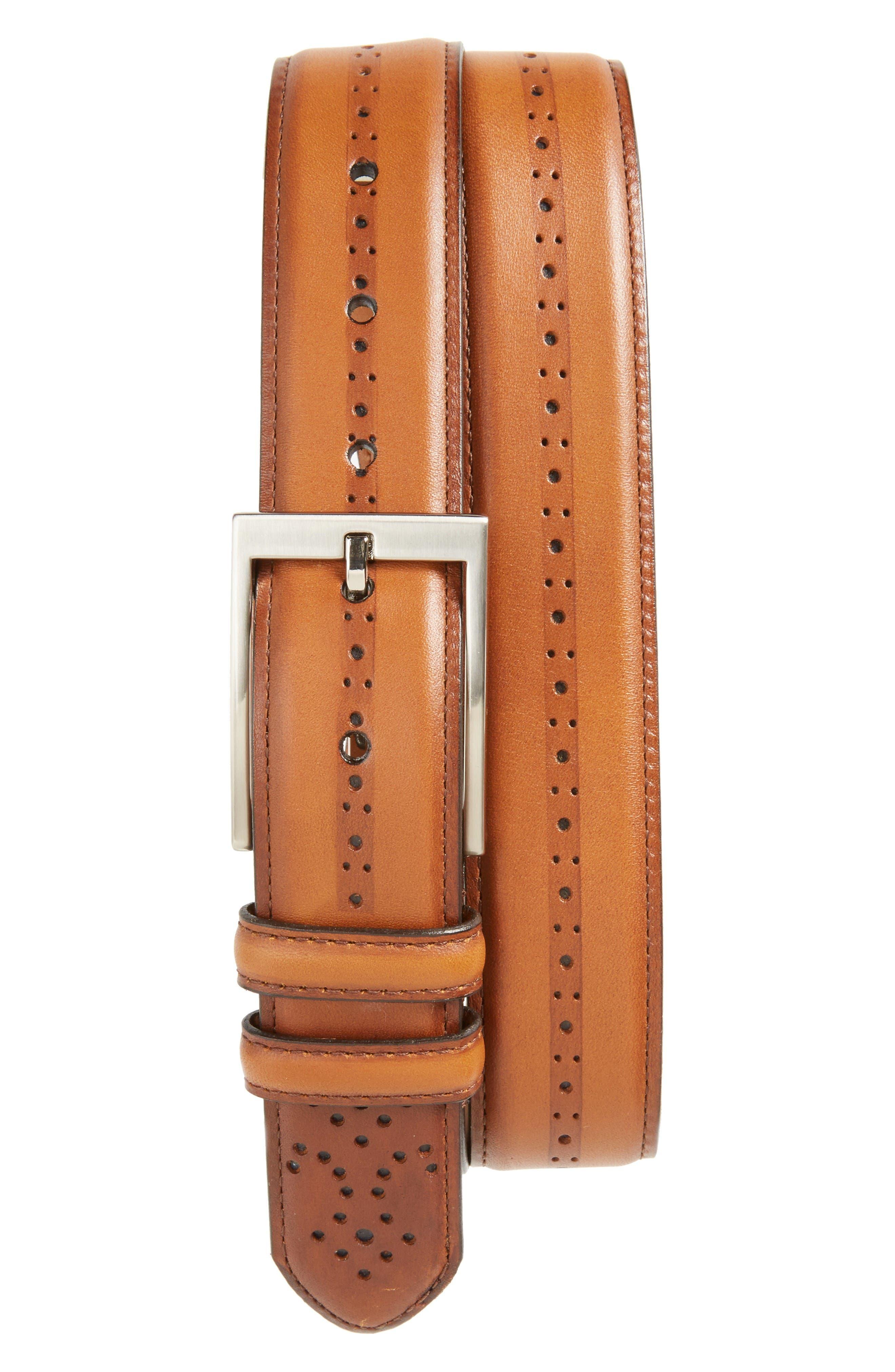 Eastwick Leather Belt,                         Main,                         color, Cognac