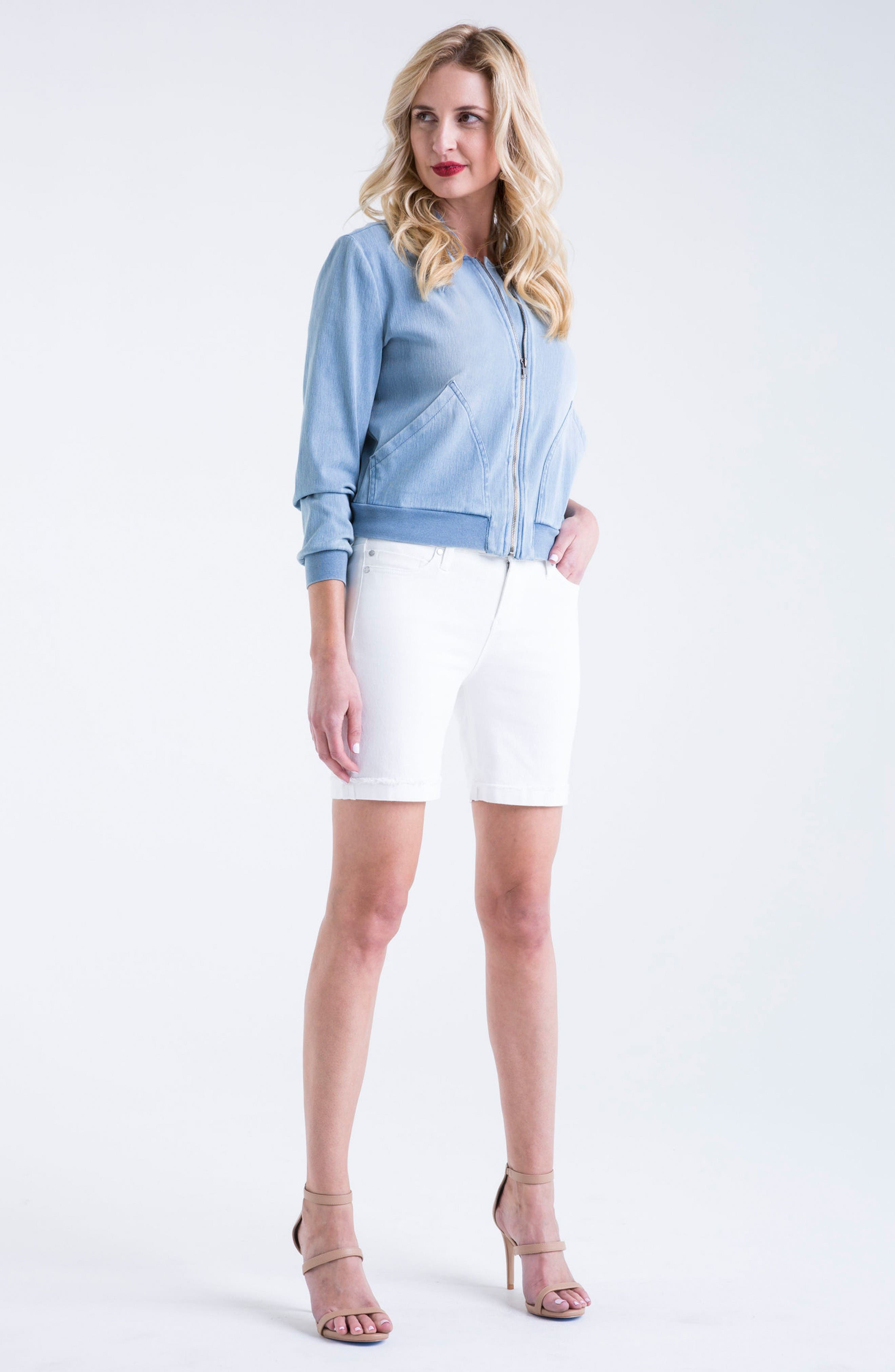 Corine Cuffed Denim Shorts,                             Alternate thumbnail 2, color,                             Bright White