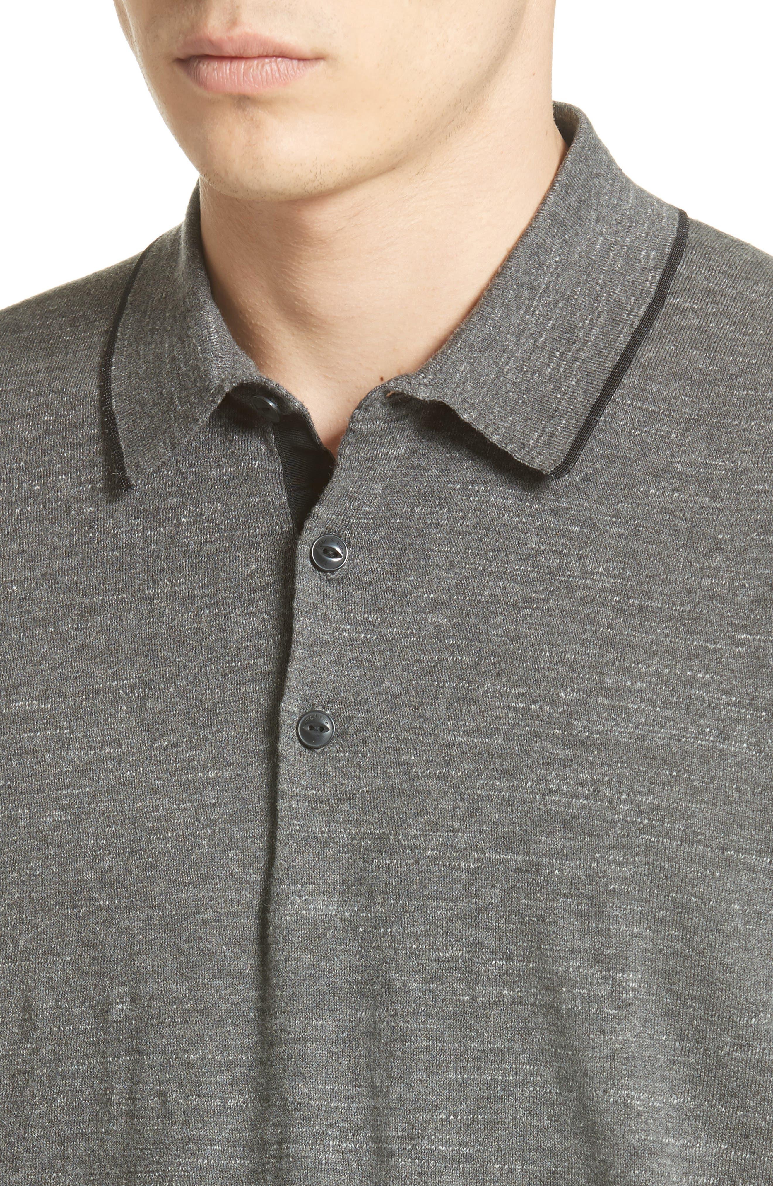 Lucas Cotton Polo,                             Alternate thumbnail 4, color,                             Grey Heather