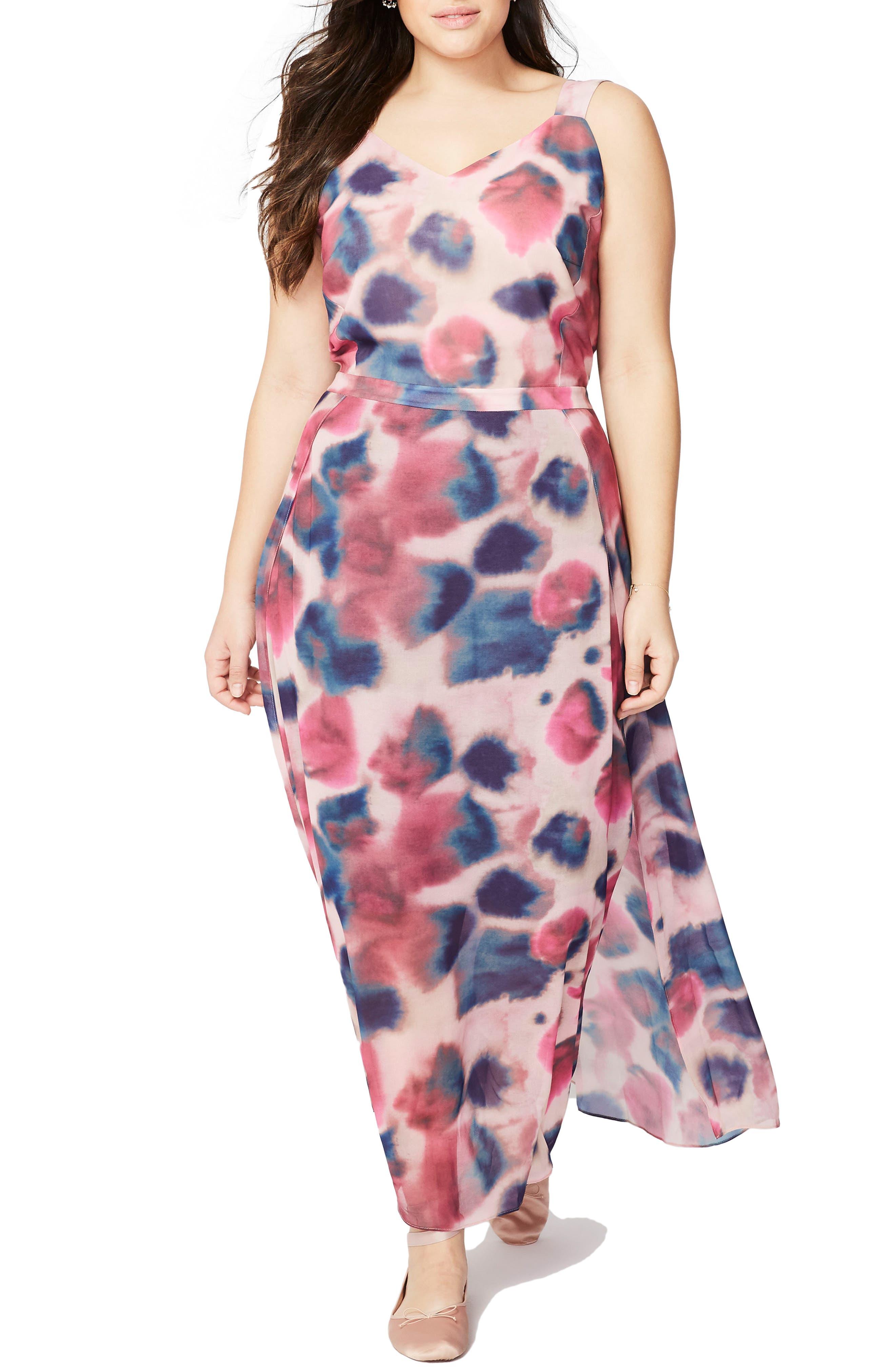 Rachel Roy Faux Wrap Maxi Dress,                         Main,                         color, Rainbow Combo