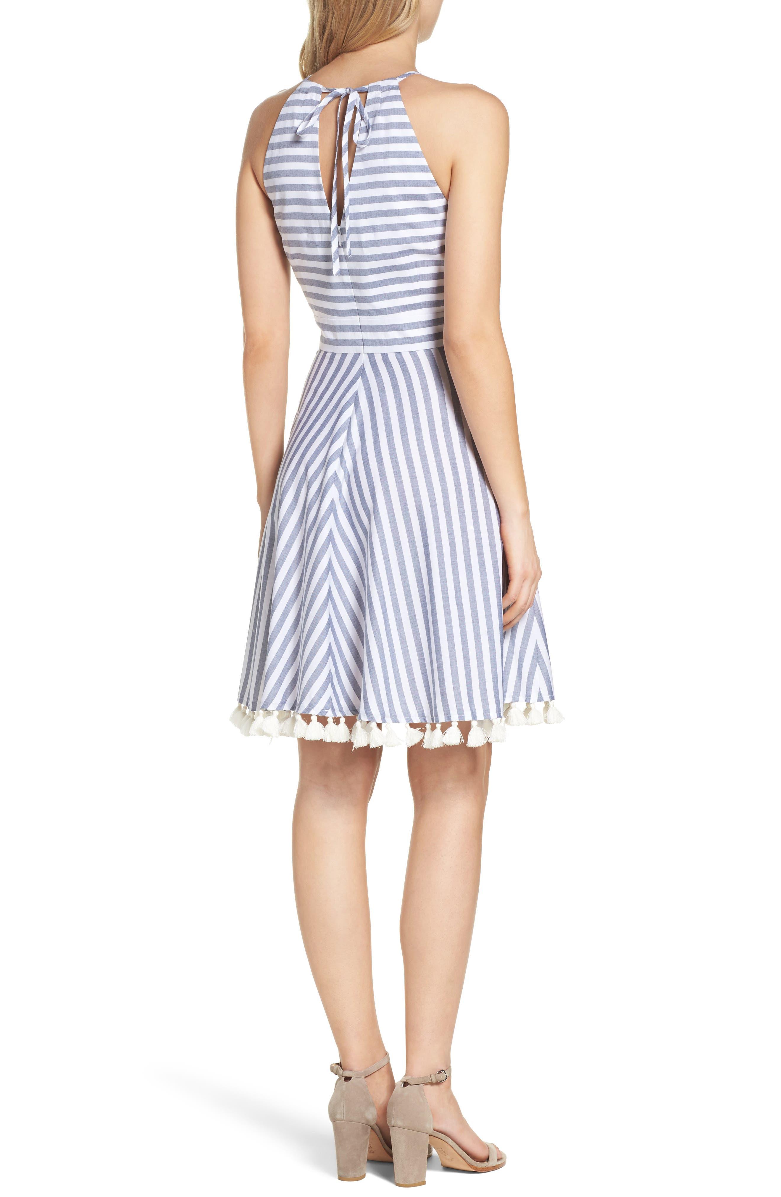 Stripe Fit & Flare Dress,                             Alternate thumbnail 2, color,                             Navy/ Ivory