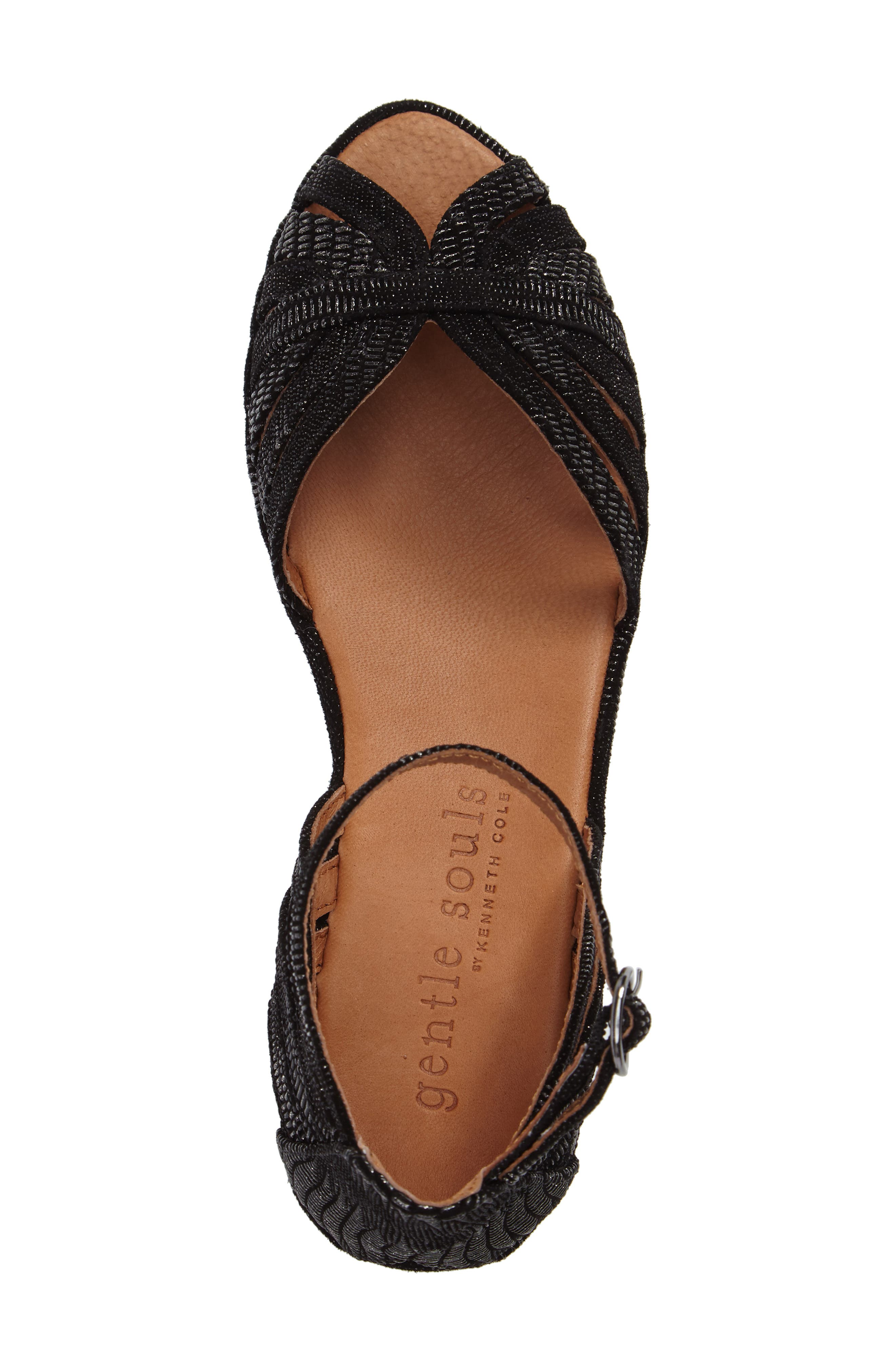 by Kenneth Cole 'Leah' Peep Toe Wedge Sandal,                             Alternate thumbnail 5, color,                             Black/ Black Leather