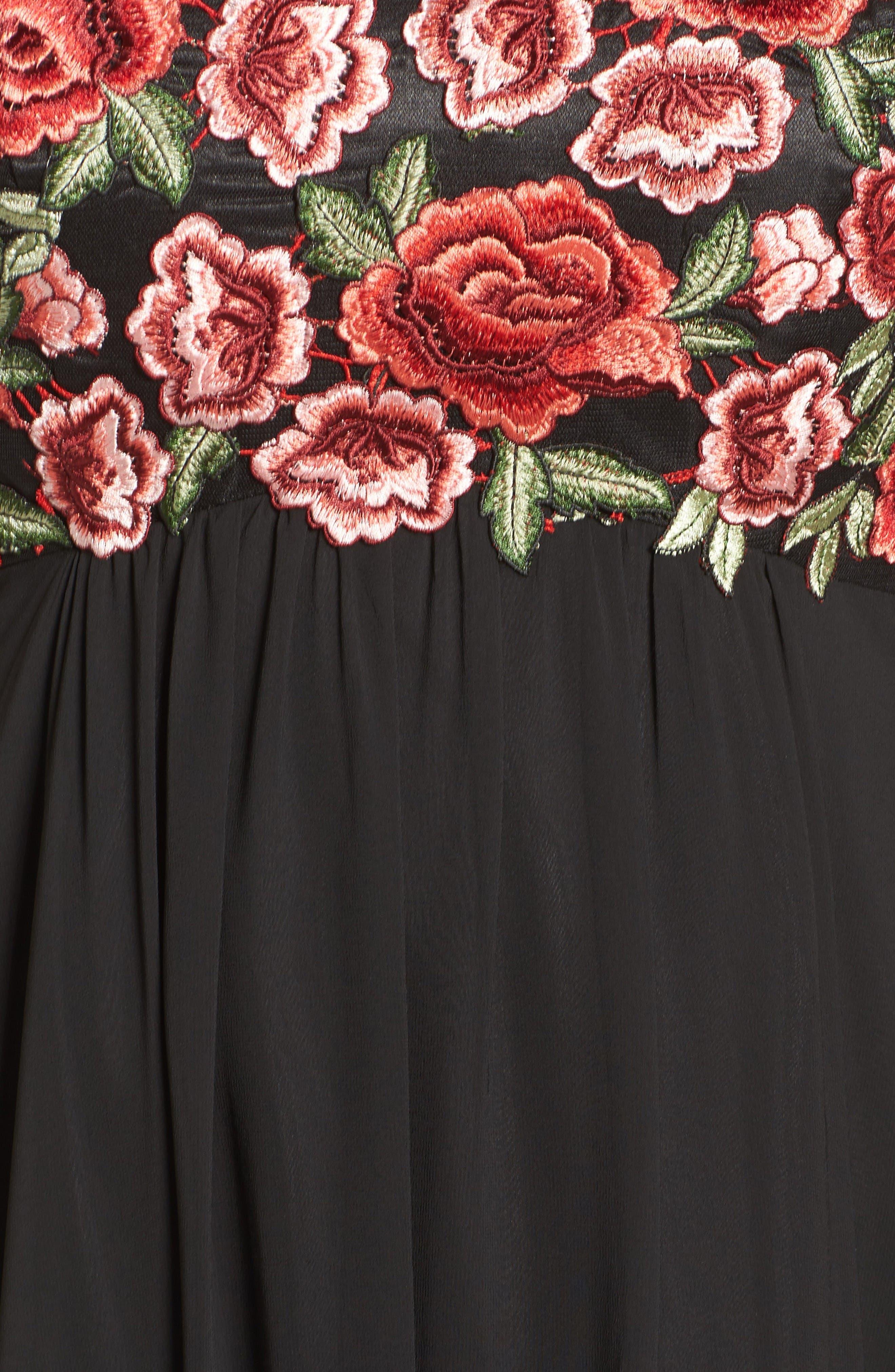 Floral Appliqué Strapless Gown,                             Alternate thumbnail 5, color,                             Black/ Red