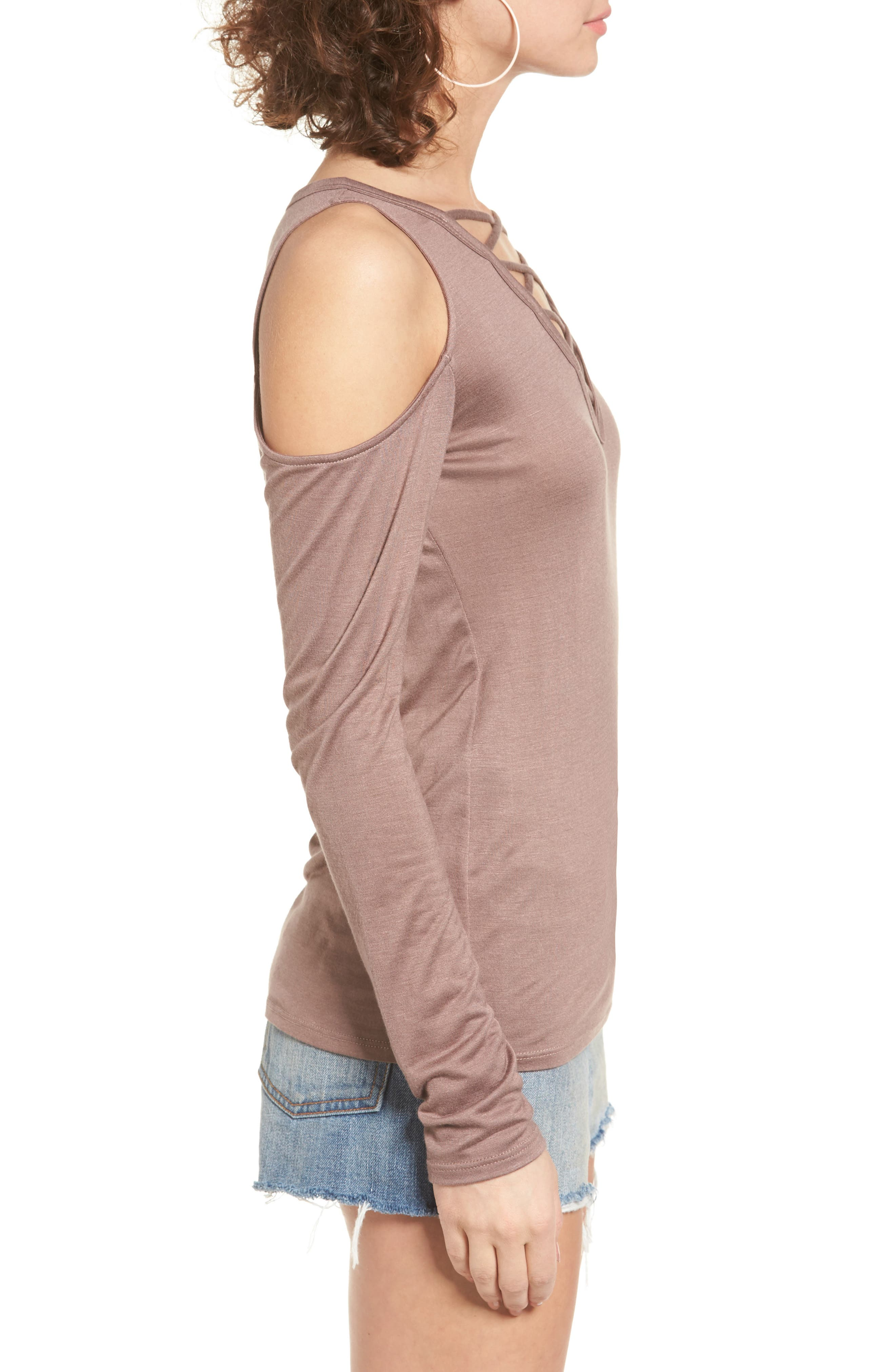 Alternate Image 3  - PST by Project Social T Lace-Up Cold Shoulder Tee