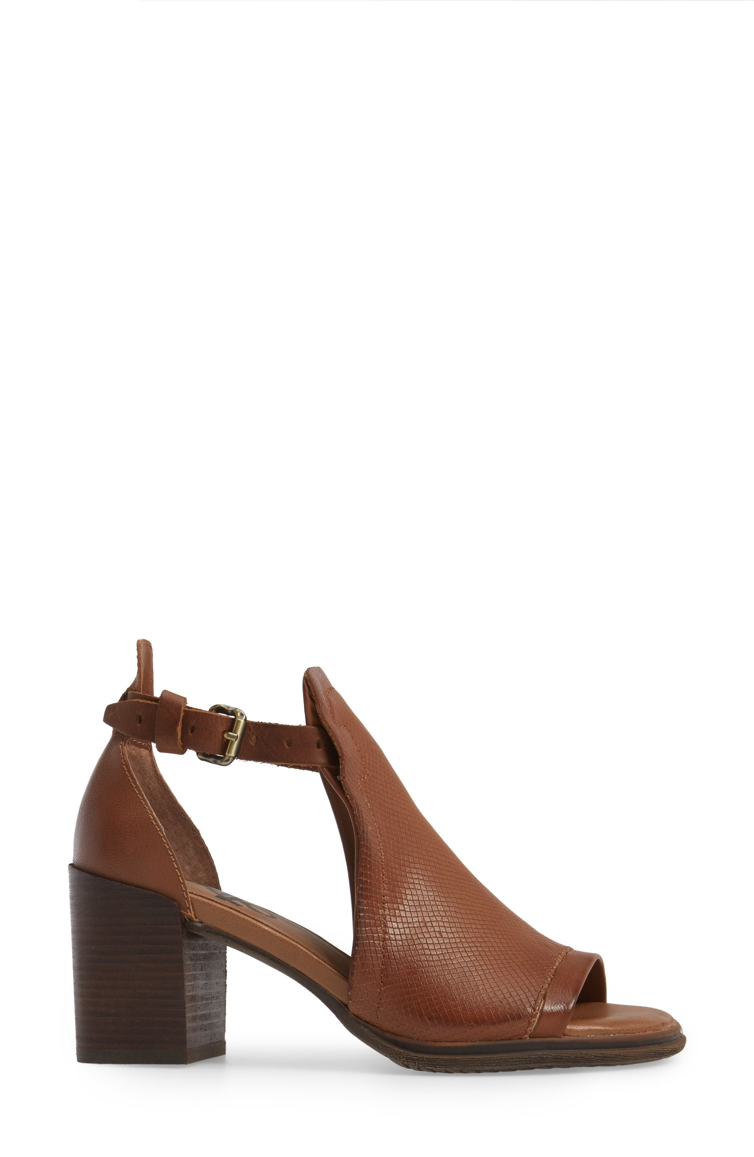 Metaphor Open Side Bootie,                             Alternate thumbnail 3, color,                             Medium Brown Leather