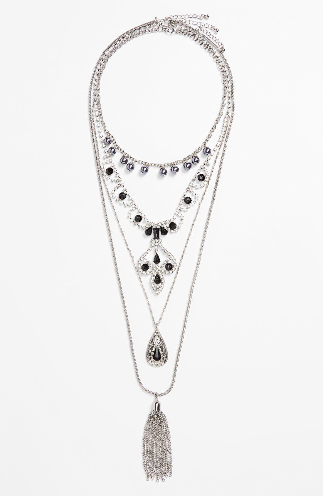 Alternate Image 2  - Topshop Chain & Tassel Necklaces (Set of 3)