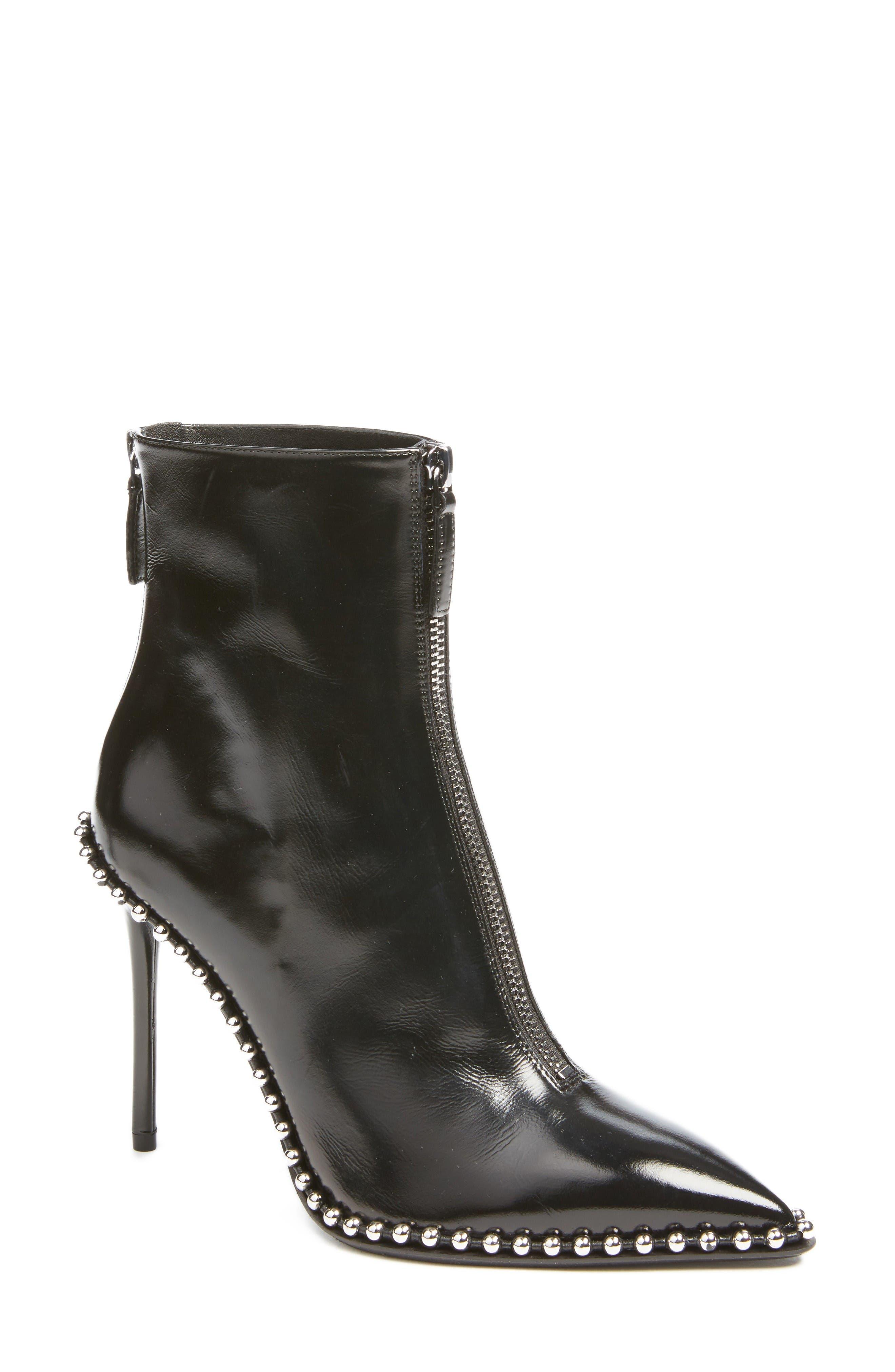 Eri Zipper Bootie,                         Main,                         color, Black Leather