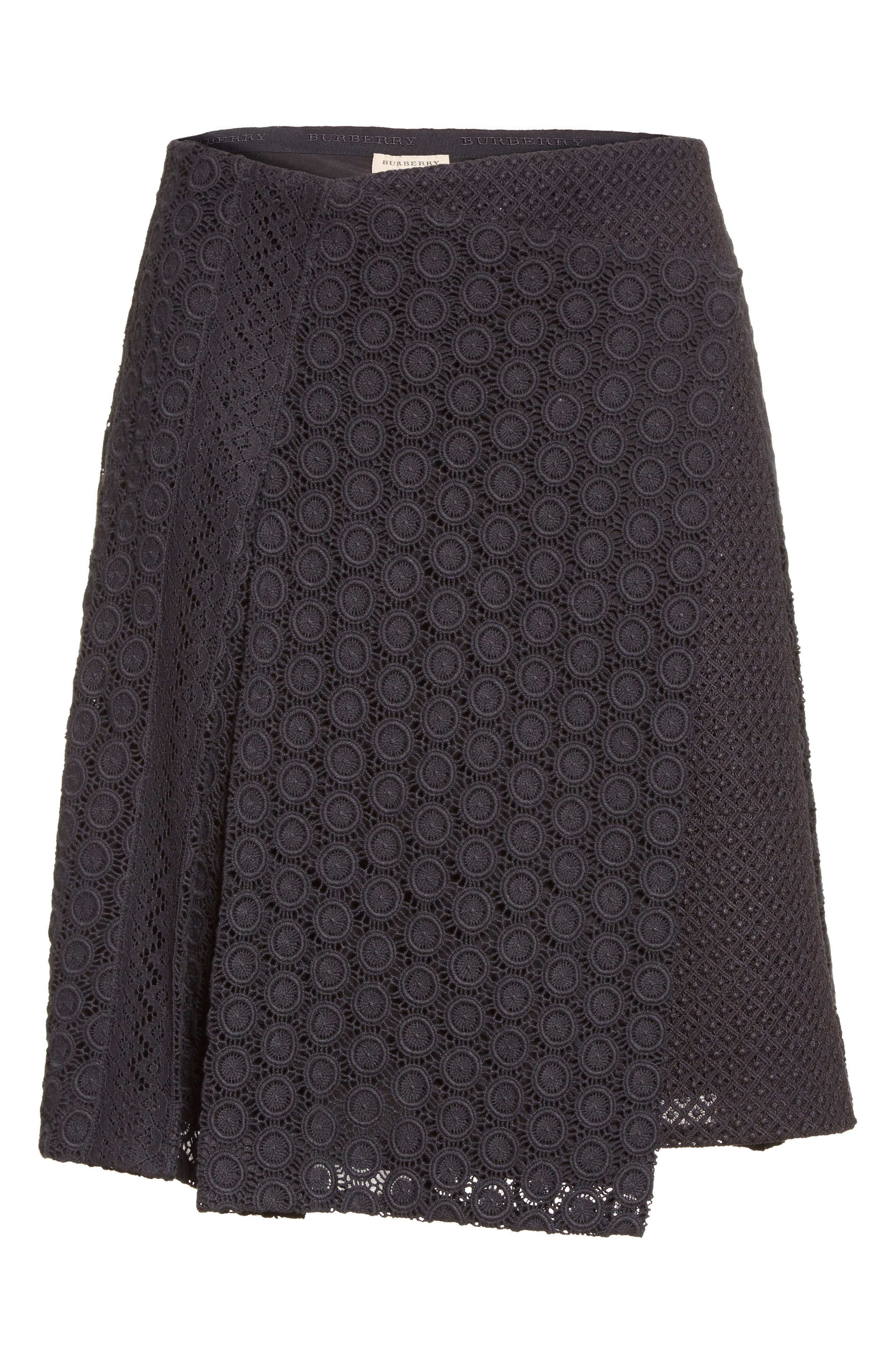 Howe Mixed Lace Pleated Wrap Skirt,                             Alternate thumbnail 4, color,                             Black