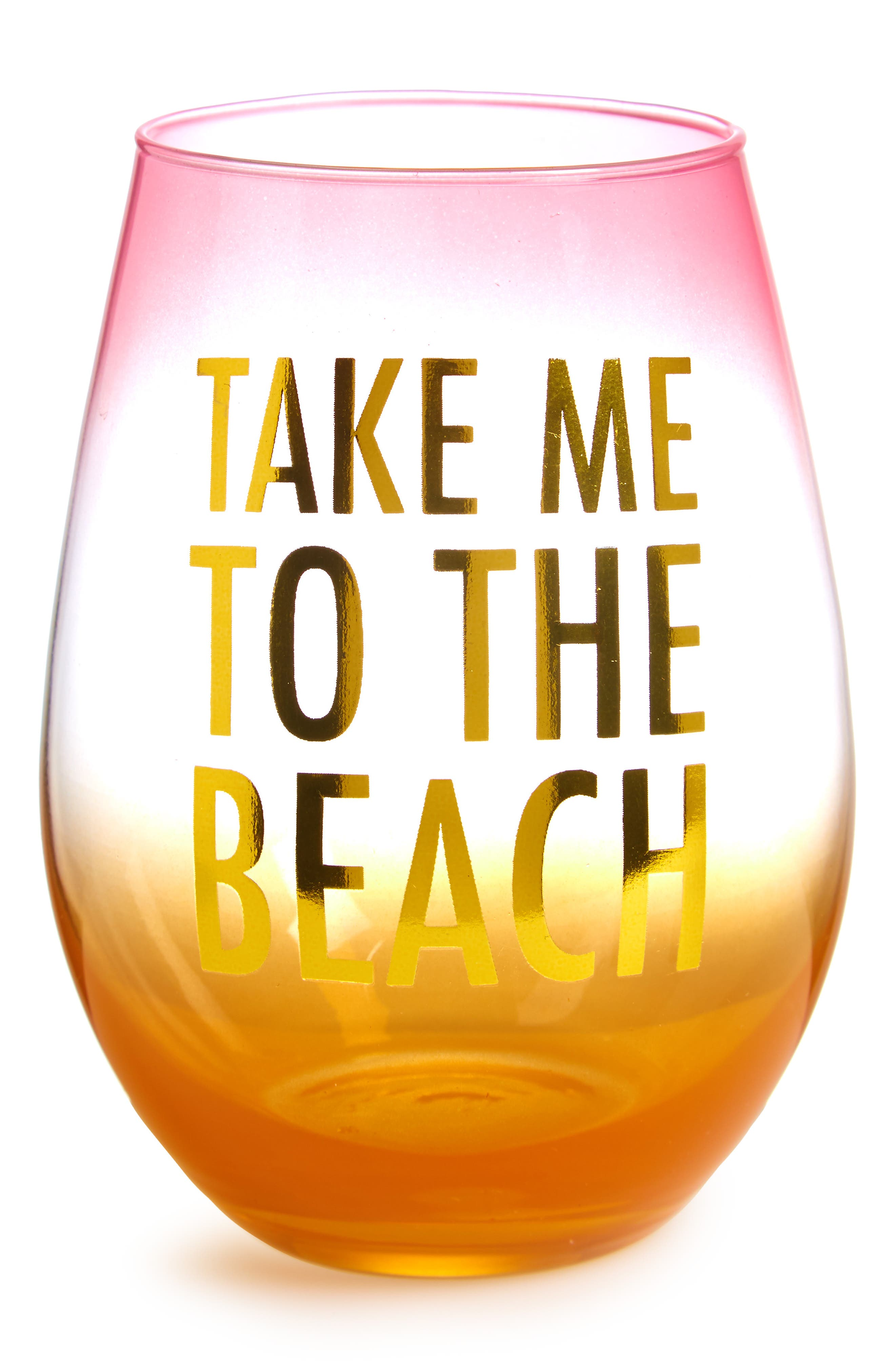 Main Image - Slant Collections Take Me to the Beach Stemless Wine Glass