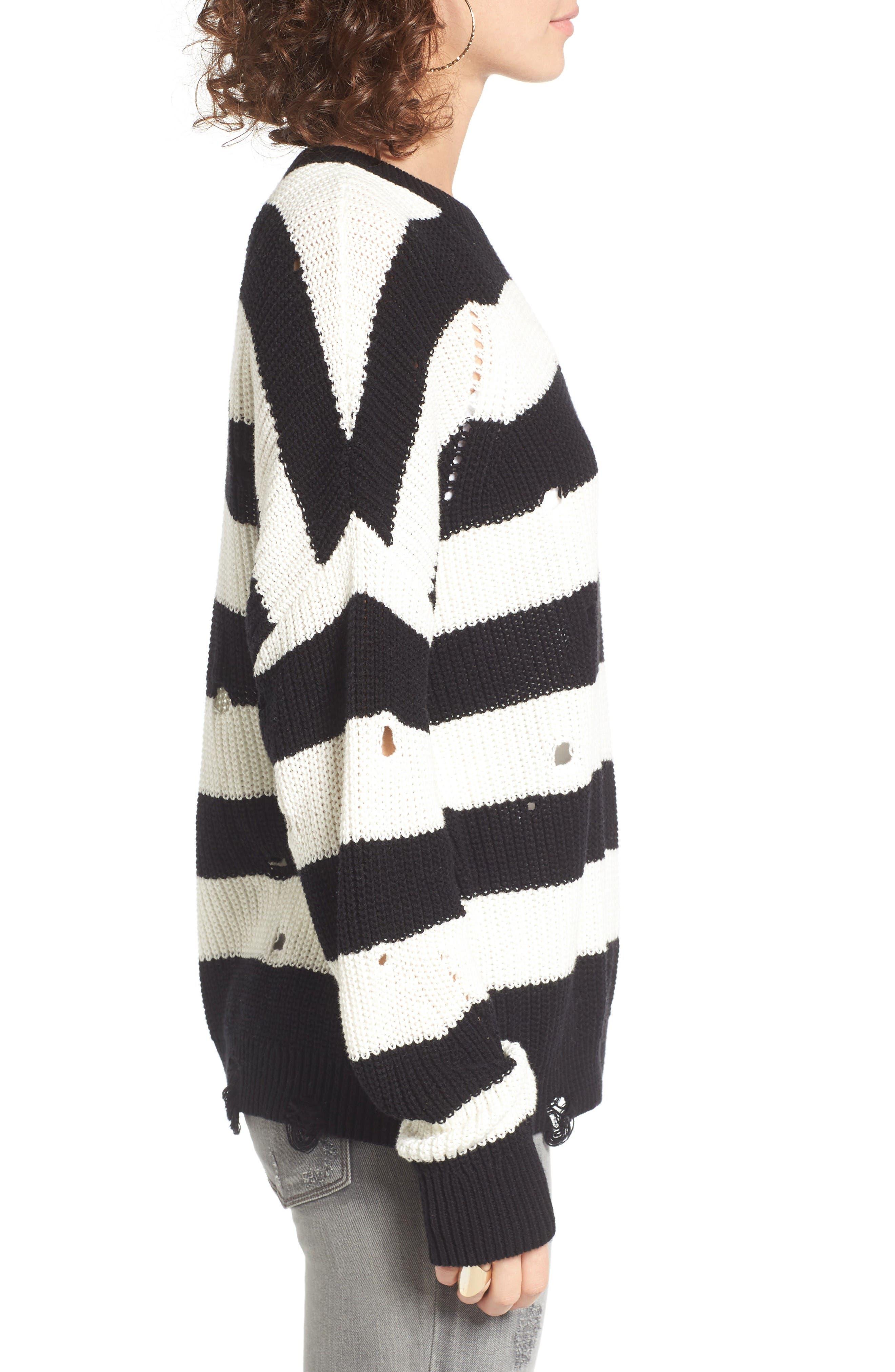 Alternate Image 4  - BP. Decontructed Stripe Cotton Pullover
