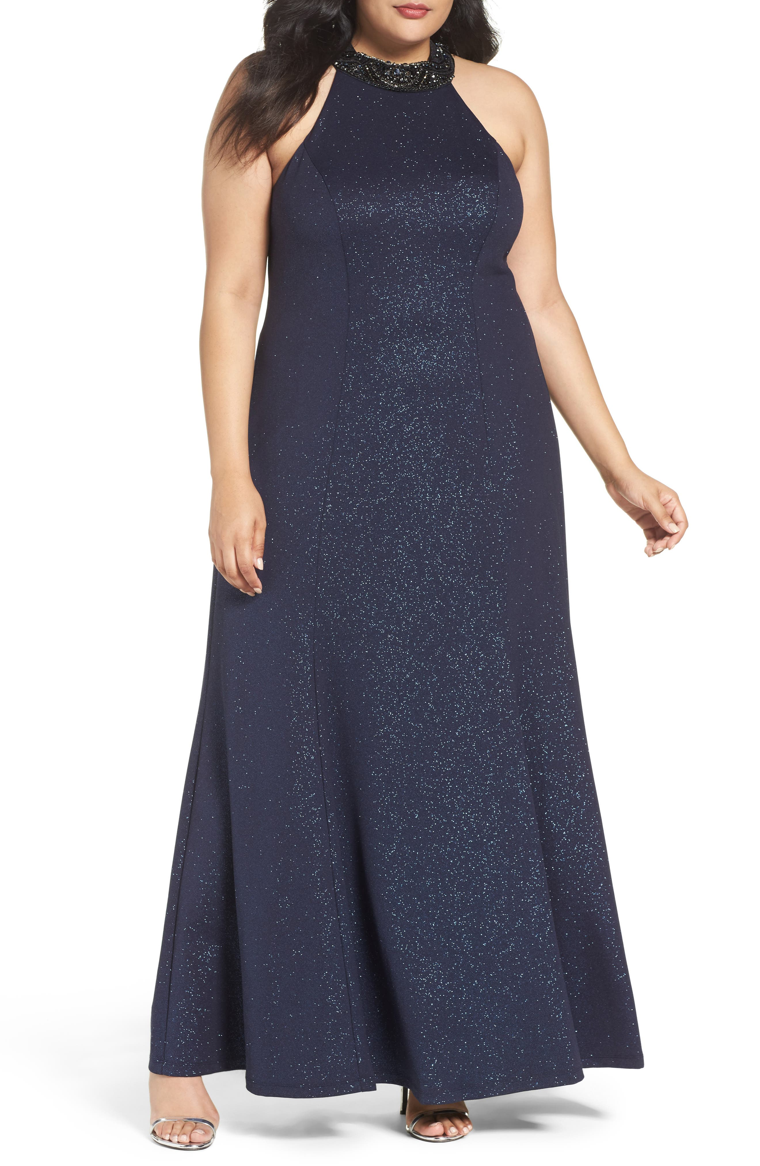 Alternate Image 1 Selected - Marina Embellished Halter Gown (Plus Size)