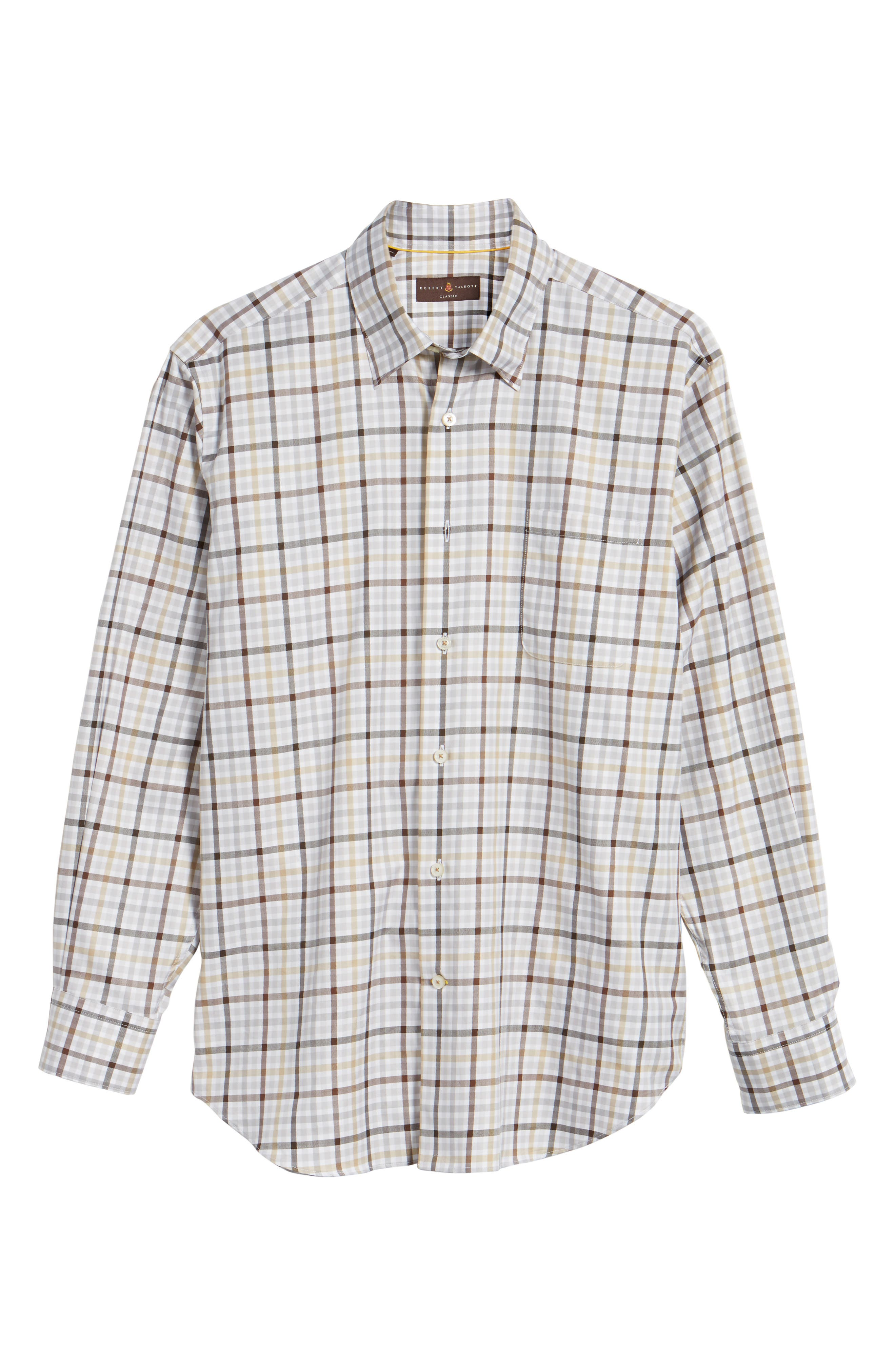 Anderson Classic Fit Plaid Micro Twill Sport Shirt,                             Alternate thumbnail 6, color,                             201