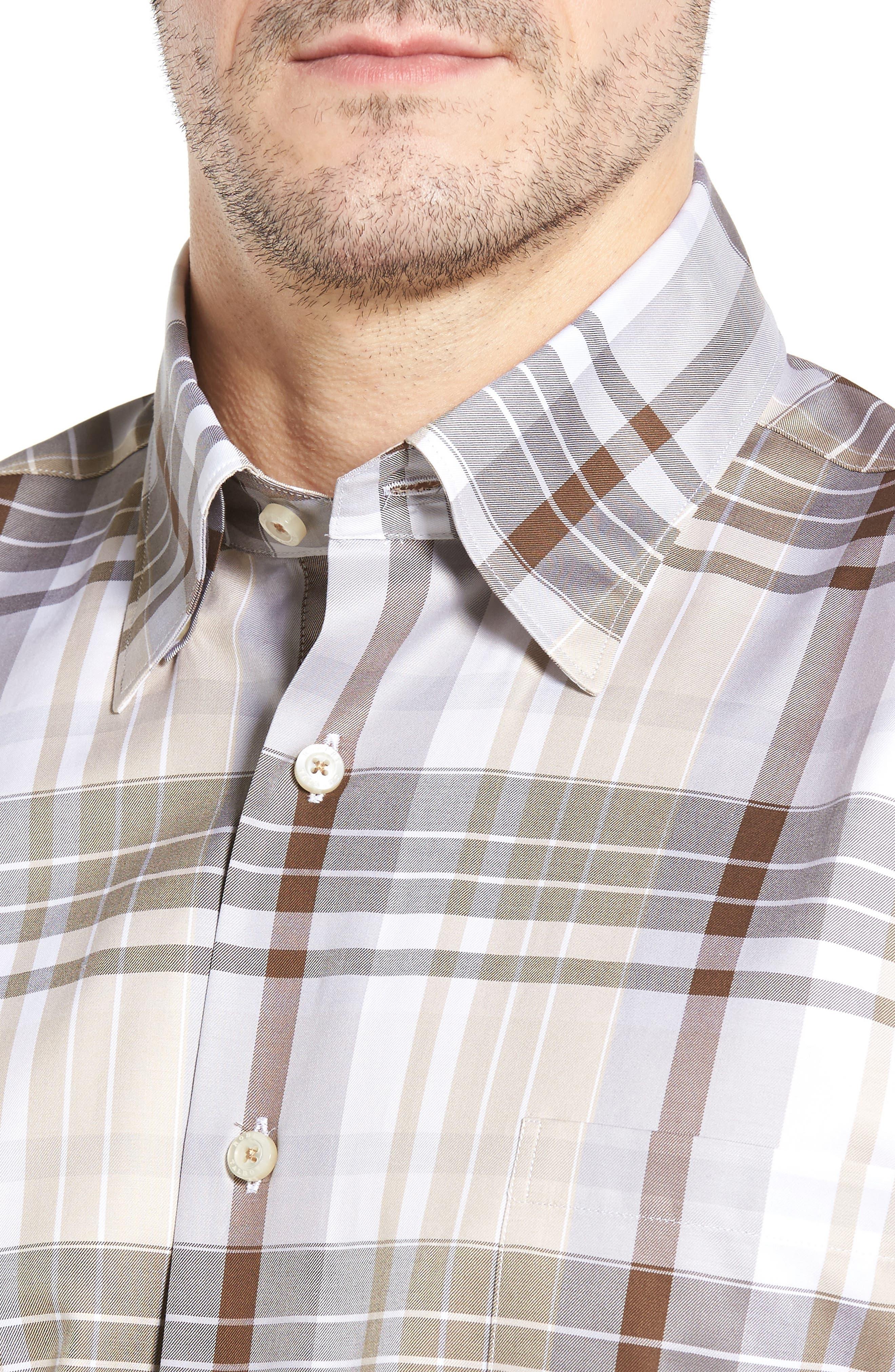 Anderson Classic Fit Plaid Micro Twill Sport Shirt,                             Alternate thumbnail 4, color,                             Desert
