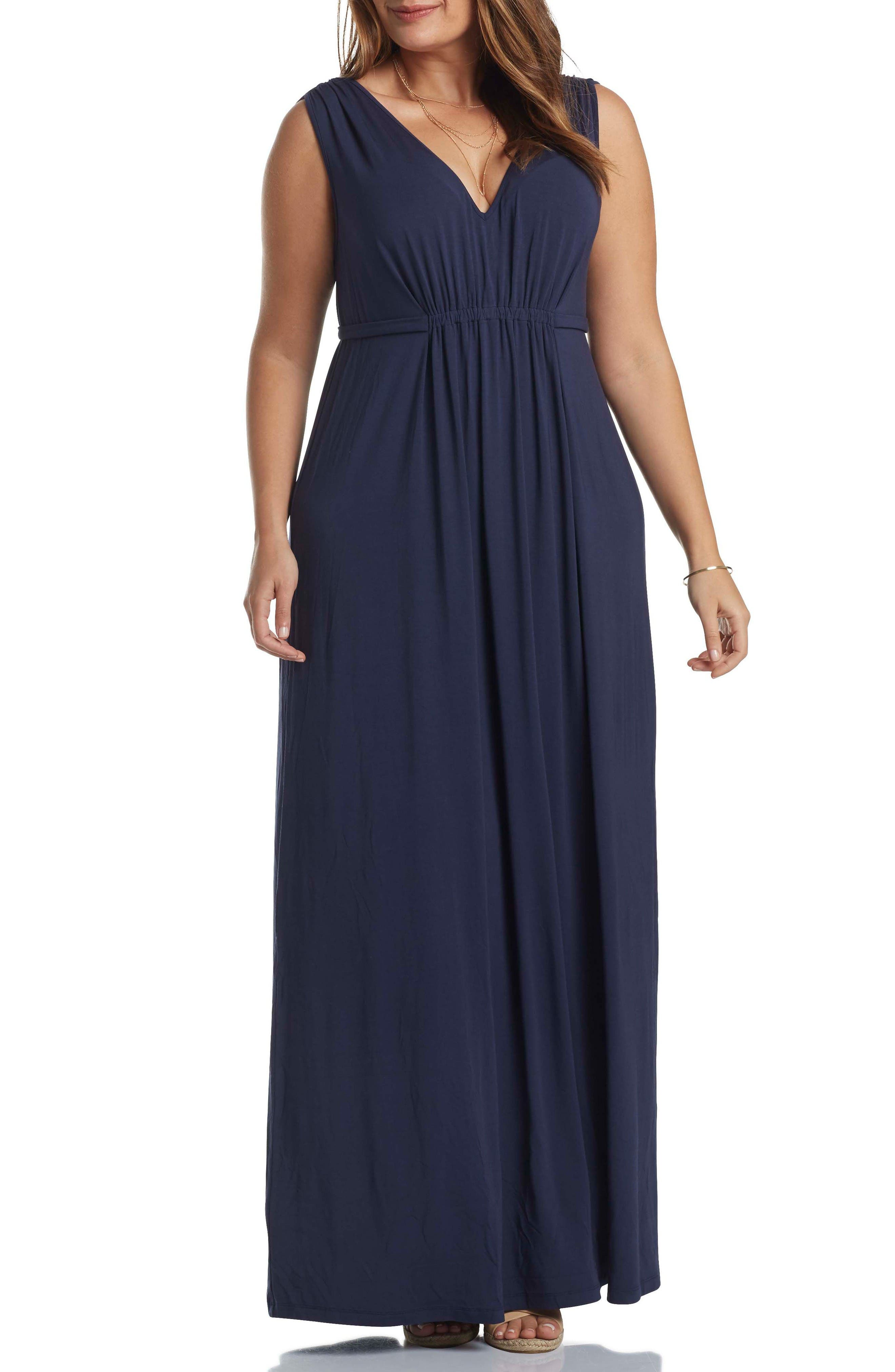 Grecia Sleeveless Jersey Maxi Dress,                         Main,                         color, Black Iris