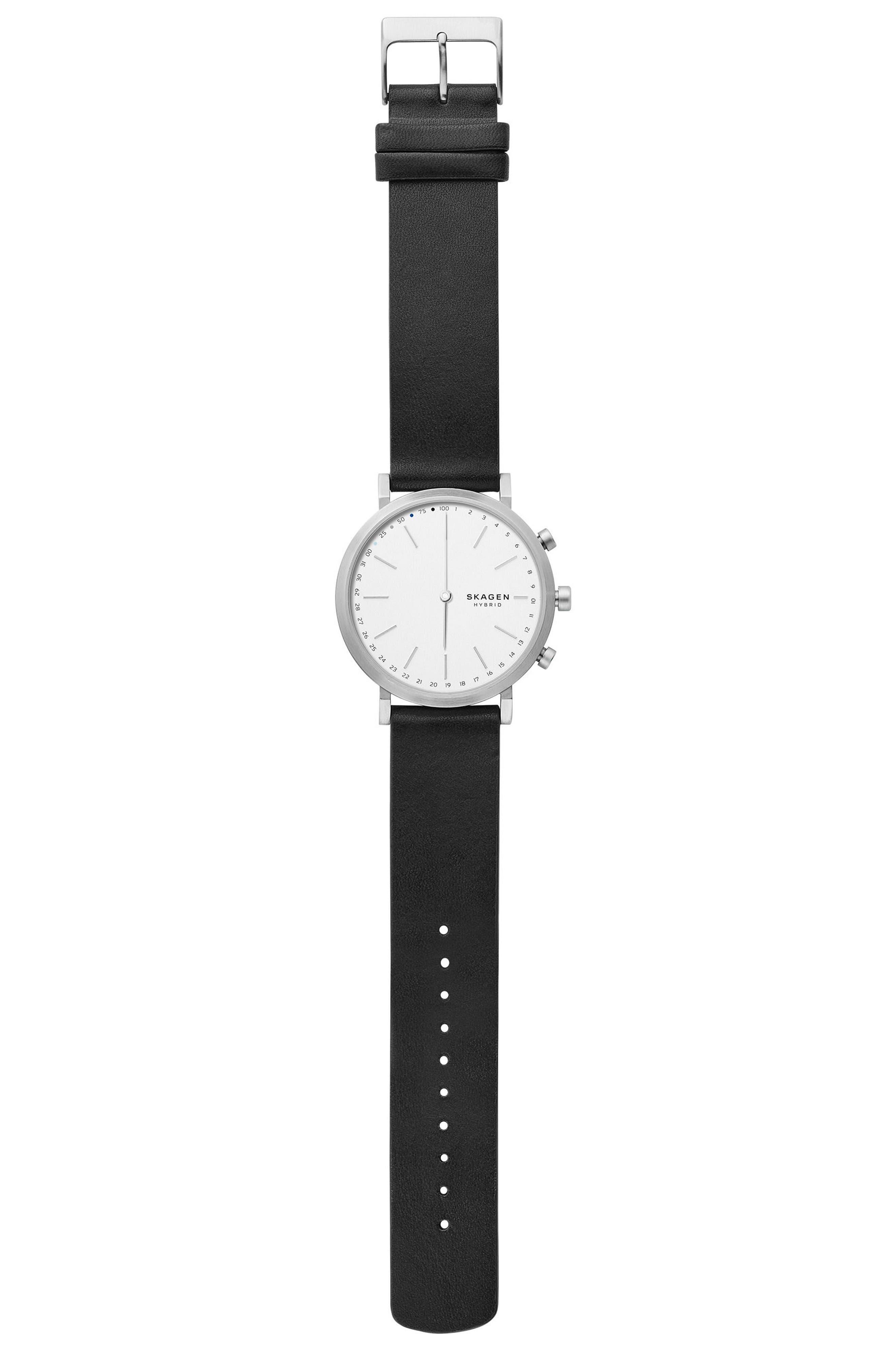 Alternate Image 2  - Skagen Hald Hybrid Leather Strap Smart Watch, 40mm