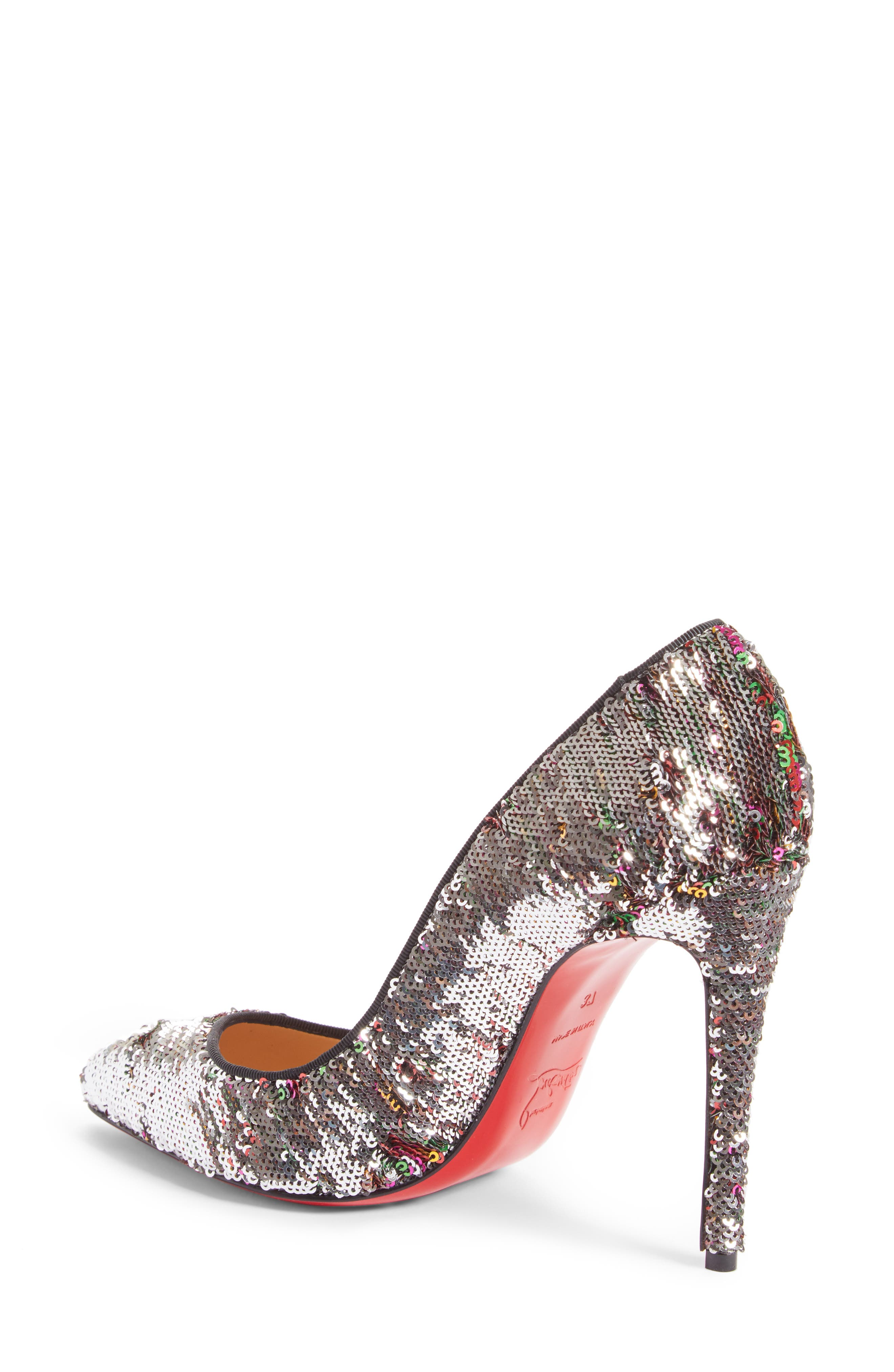 Pigalle Follies Sequin Pointy Toe Pump,                             Alternate thumbnail 2, color,                             Silver Sequin