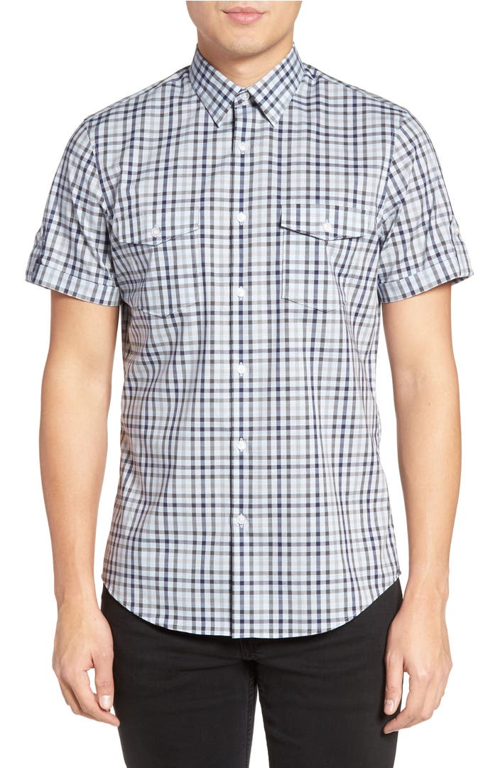 Calibrate slim fit non iron gingham military sport shirt for Slim fit non iron shirts