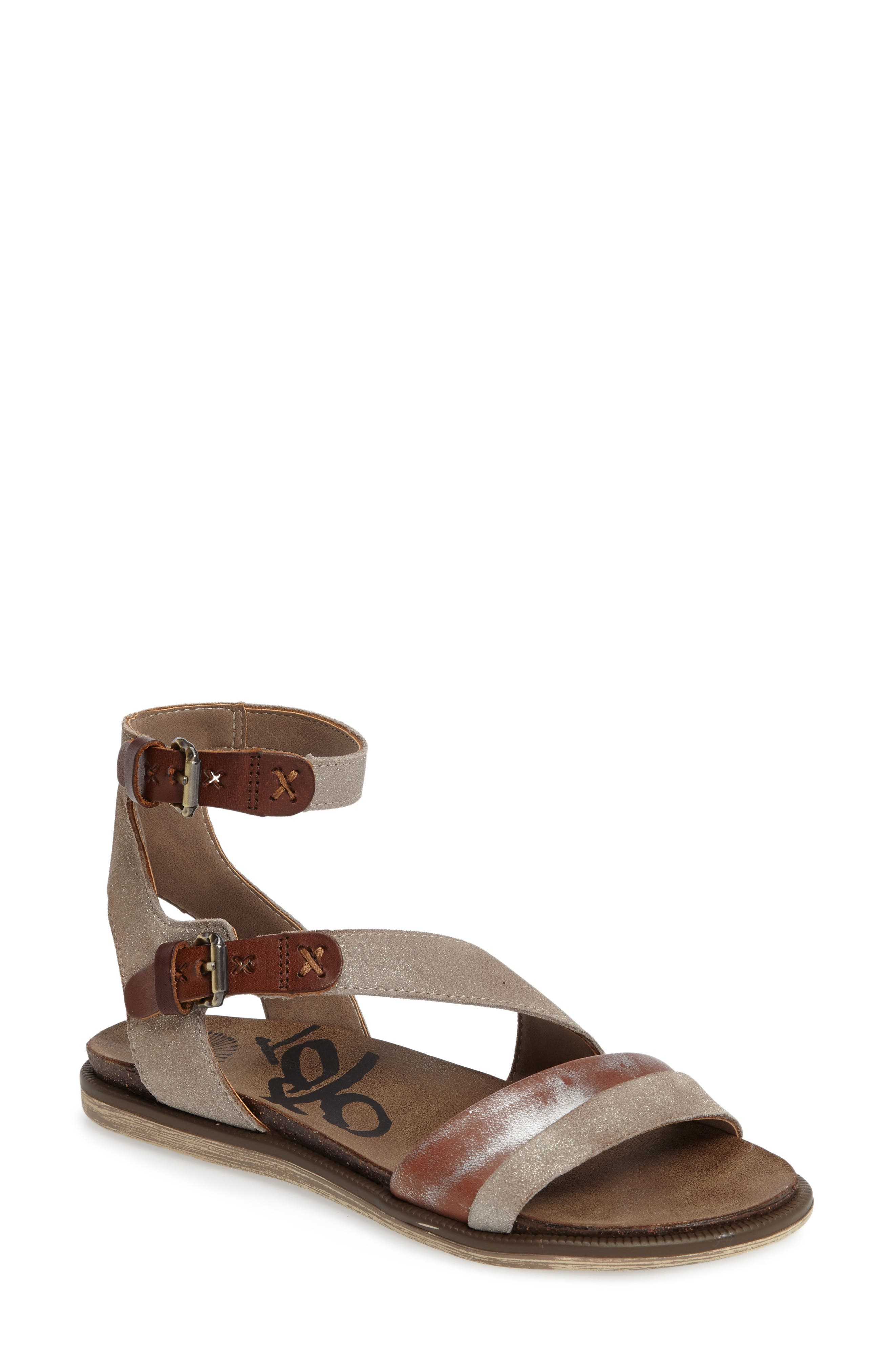March On Flat Sandal,                         Main,                         color, Grey Silver Leather
